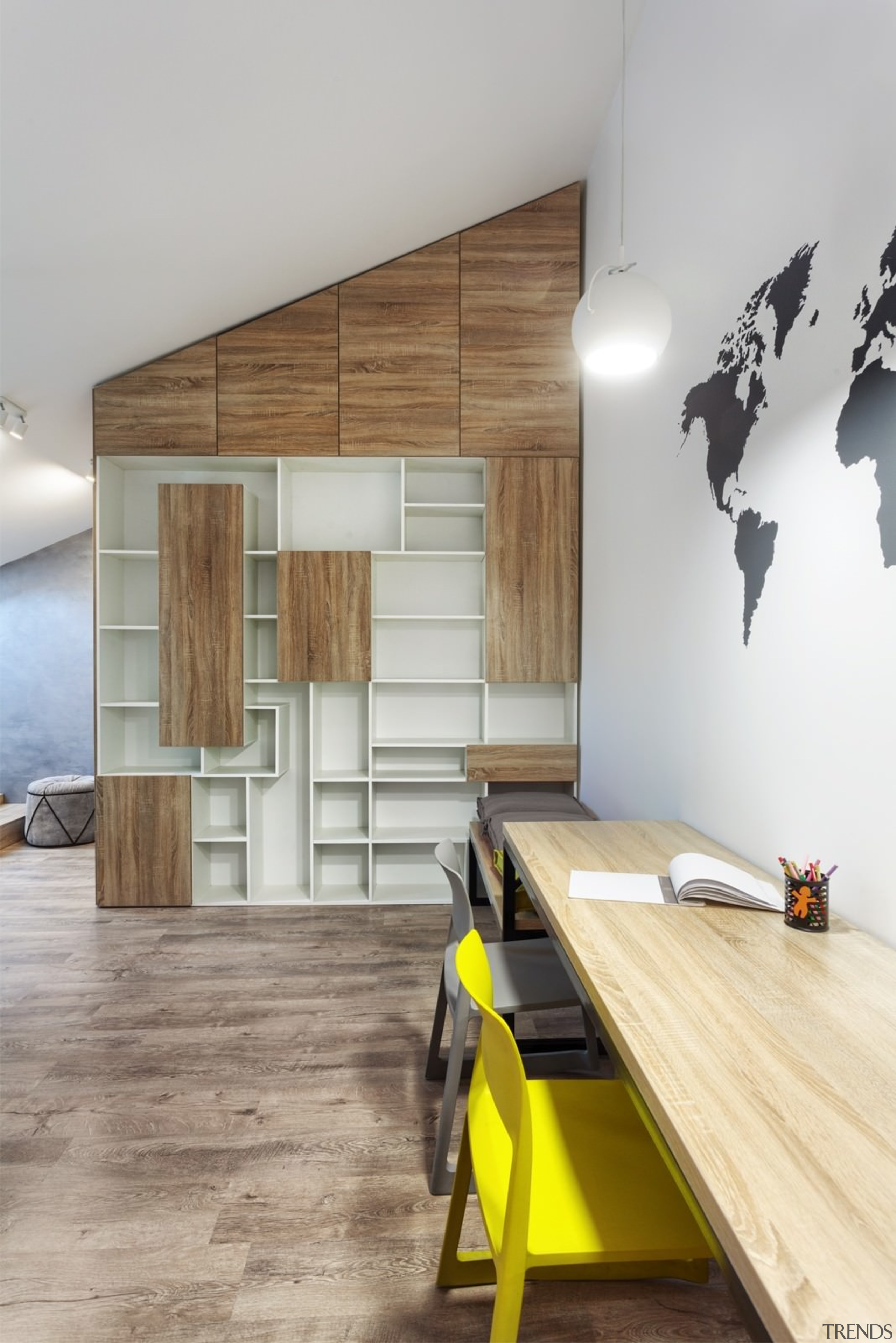 Architect: Martin ArchitectsPhotography by Alexander Kondrianenko architecture, ceiling, floor, flooring, furniture, hardwood, house, interior design, product design, table, wall, wood, wood flooring, gray