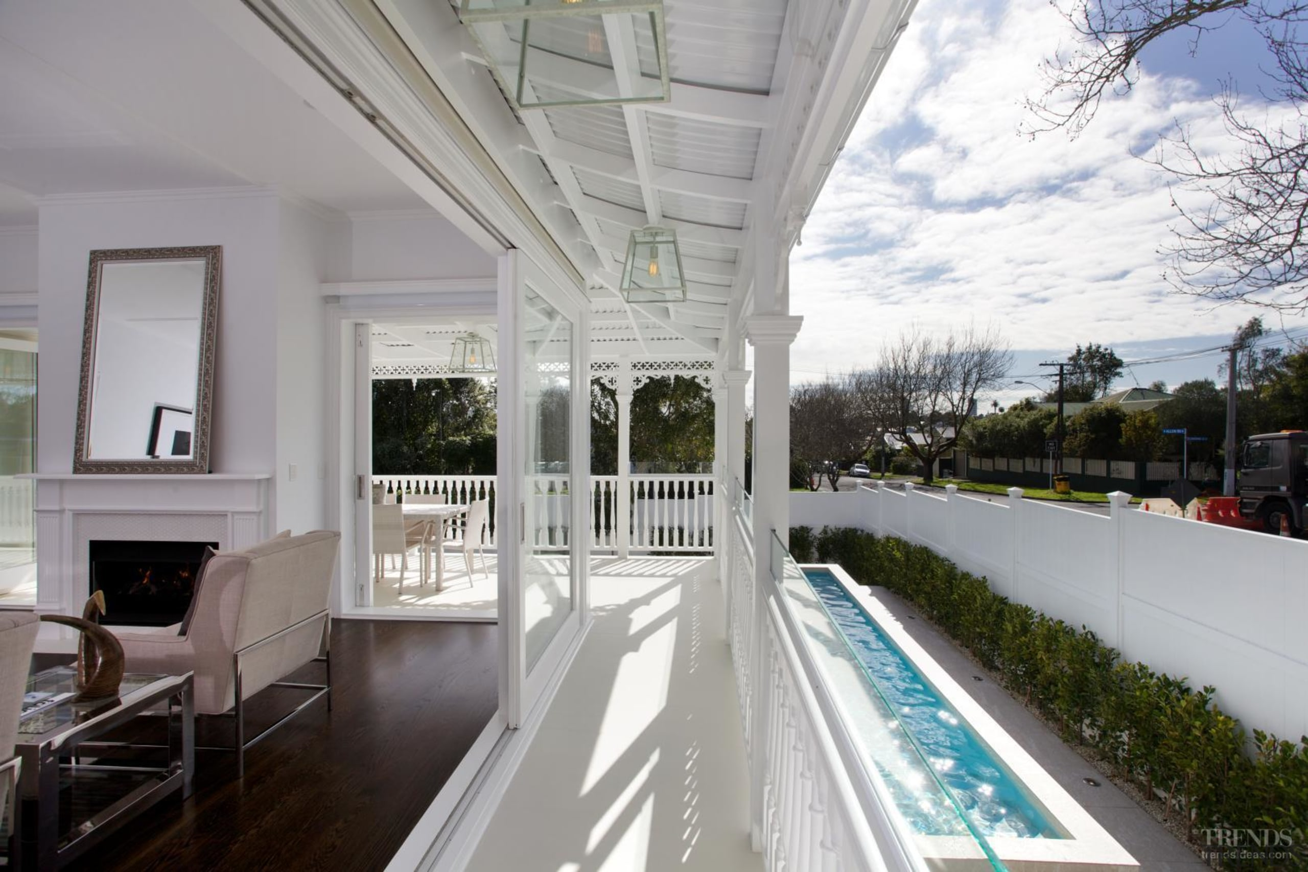 Grand affair – classic weatherboards, filigree detailing and apartment, daylighting, estate, home, house, interior design, porch, property, real estate, window, gray, white