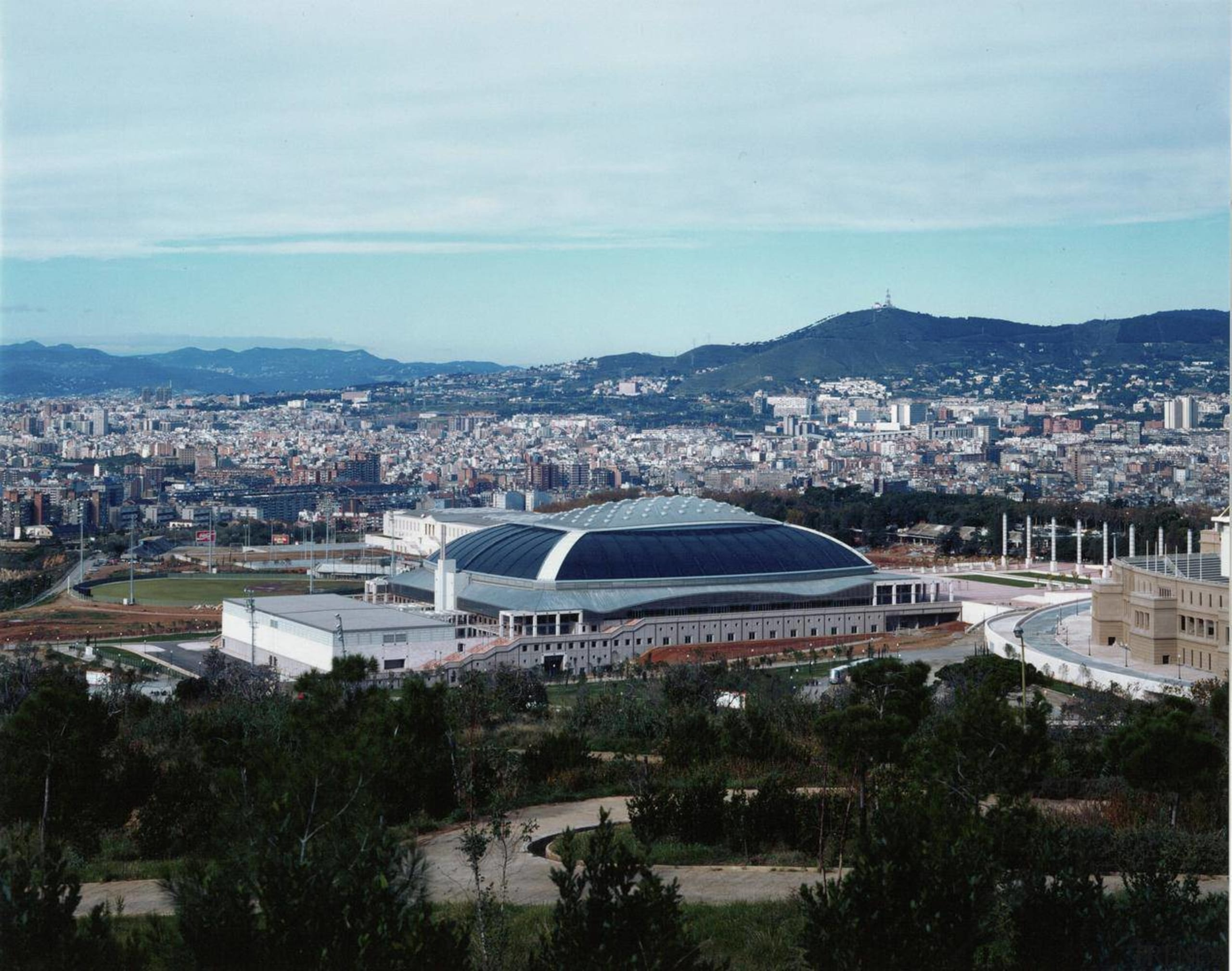 For more than 25 years now, Palau Sant aerial photography, arena, bird's eye view, city, sport venue, stadium, structure, urban area, white, black