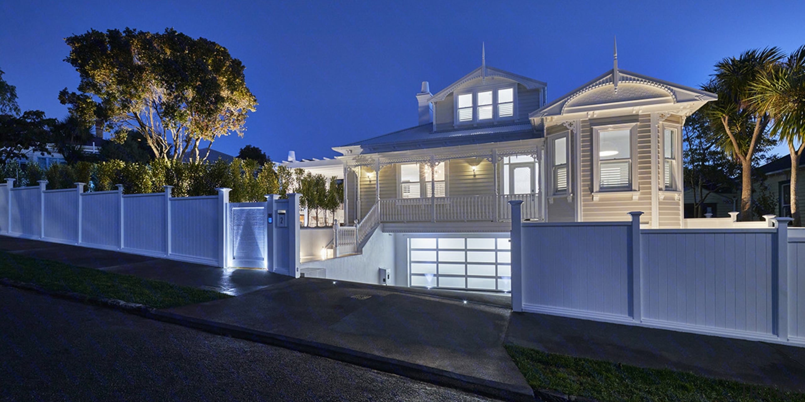 See more of this home hereDesigned by building, estate, facade, fence, home, house, lighting, mansion, property, real estate, residential area, sky, villa, blue, black