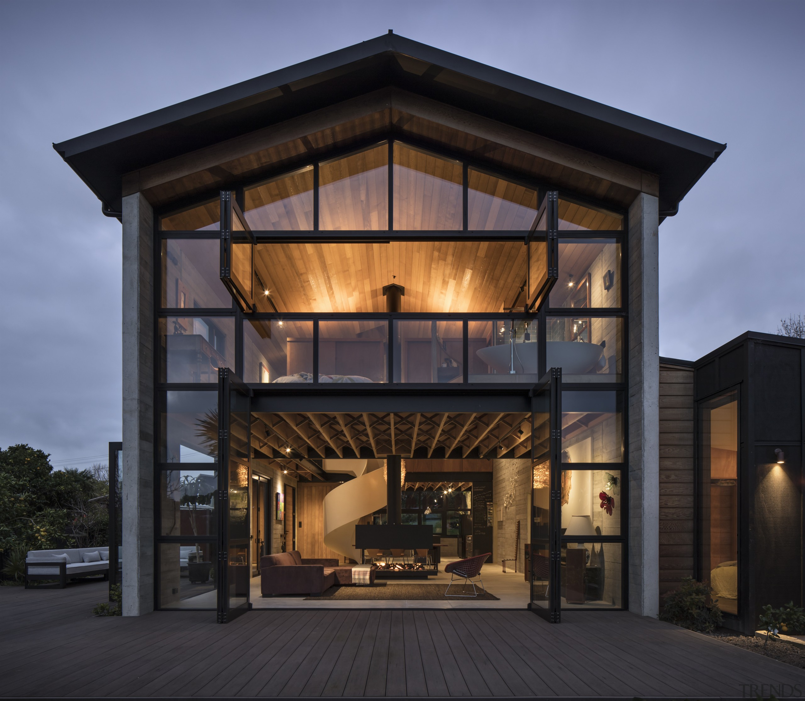The primary structure of this new home by architecture, building, facade, home, house, black, Vaughn McQuarrie Architect
