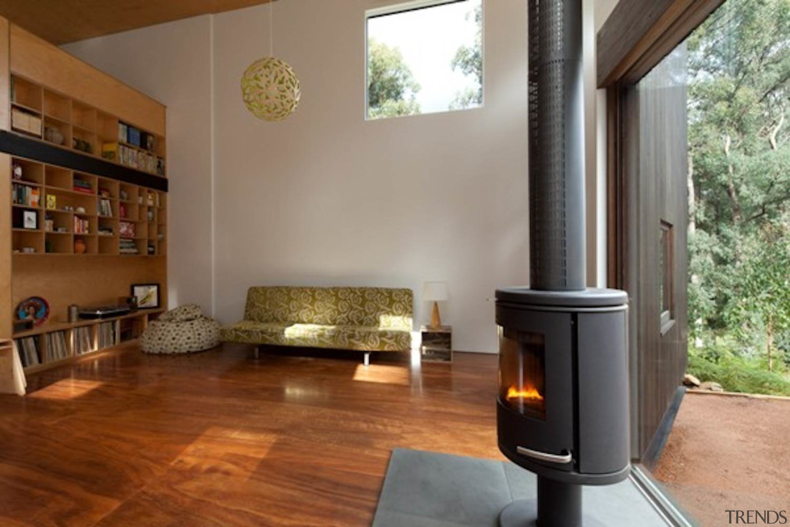 Architect: Steffen Welsch Architects architecture, fireplace, floor, flooring, hardwood, hearth, home, home appliance, house, interior design, laminate flooring, living room, real estate, wood, wood burning stove, wood flooring, brown, gray
