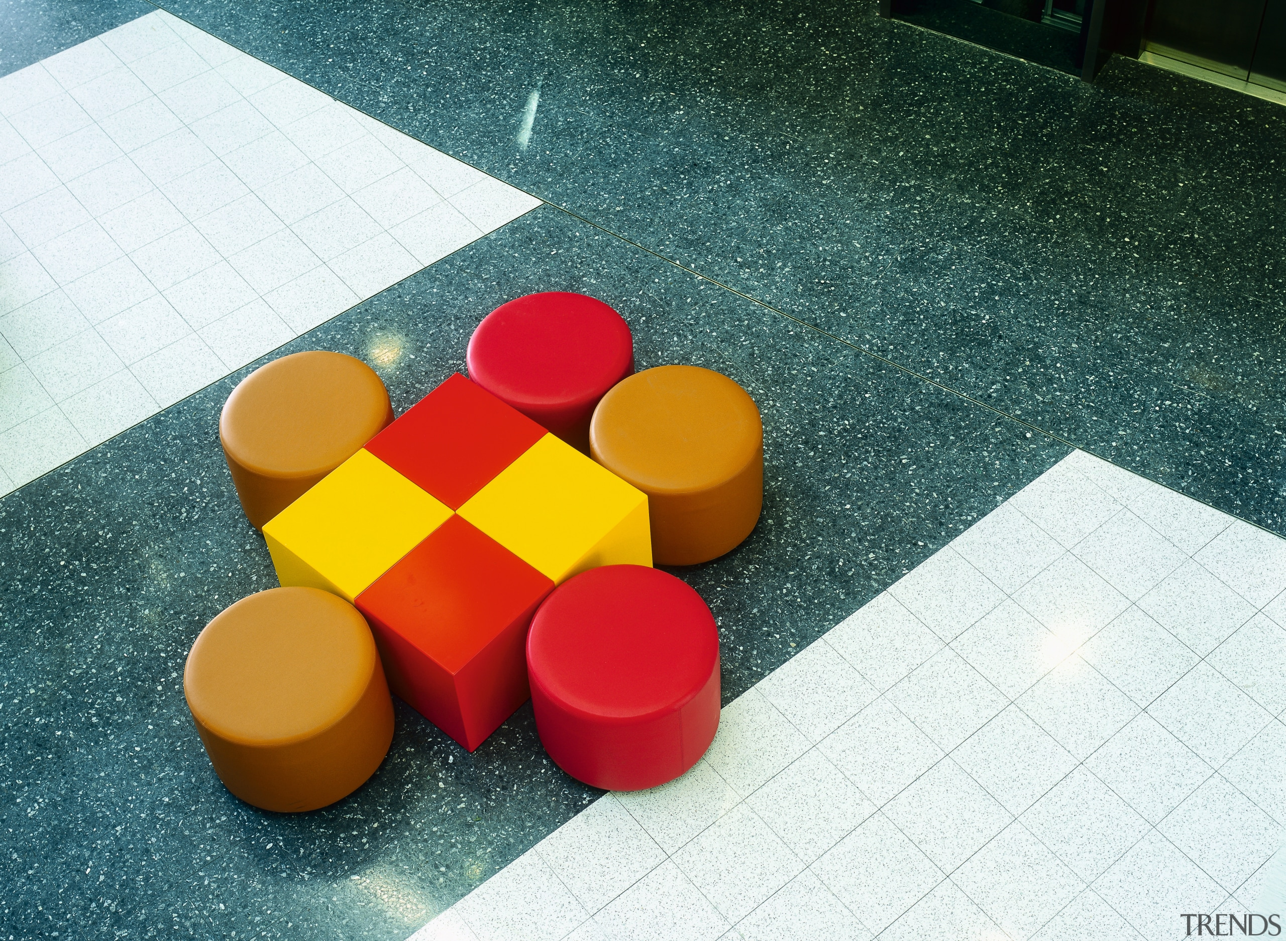 view of the terazzo tiles - view of design, floor, flooring, material, plastic, play, product design, red, table, yellow, teal, white