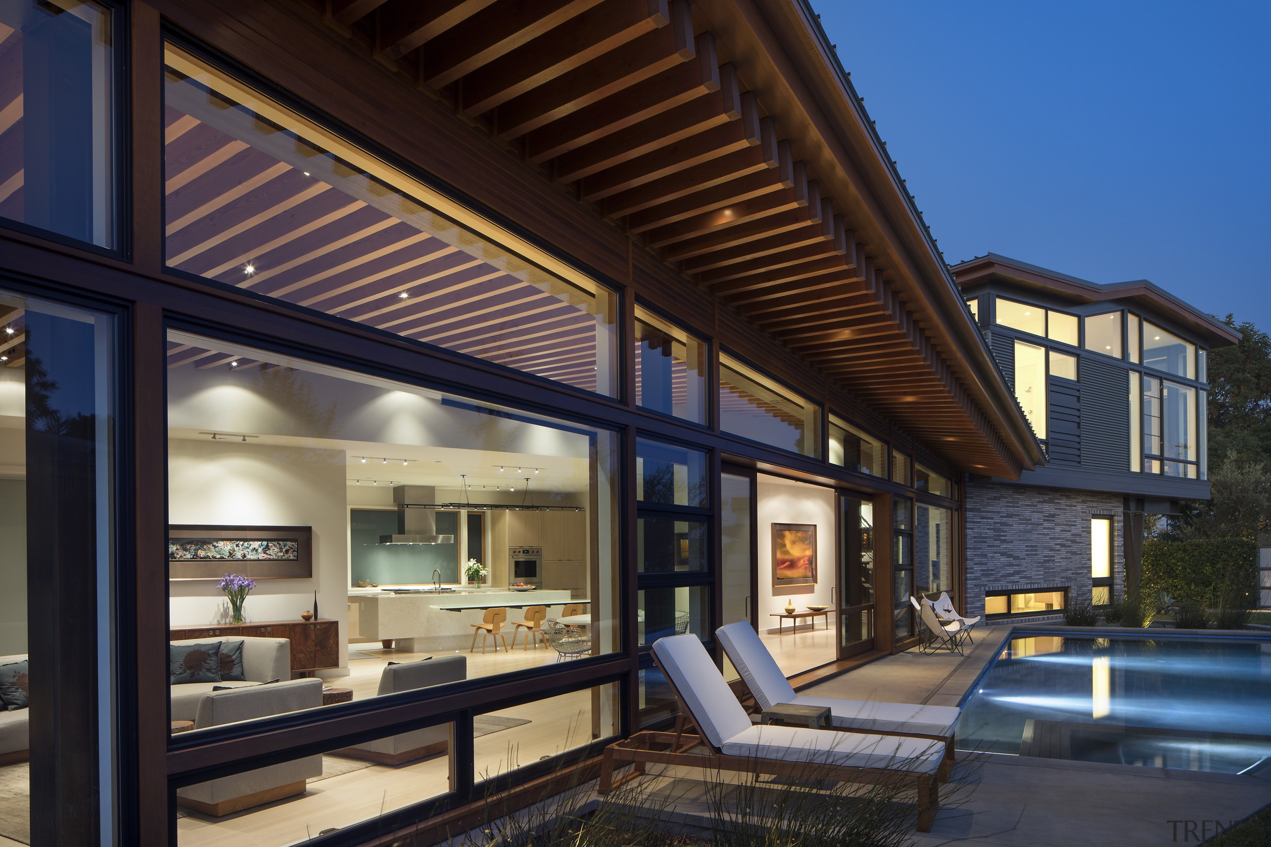 The kitchen is located centrally on the back architecture, home, house, outdoors, pool, Nils Finne, Finne Architecture