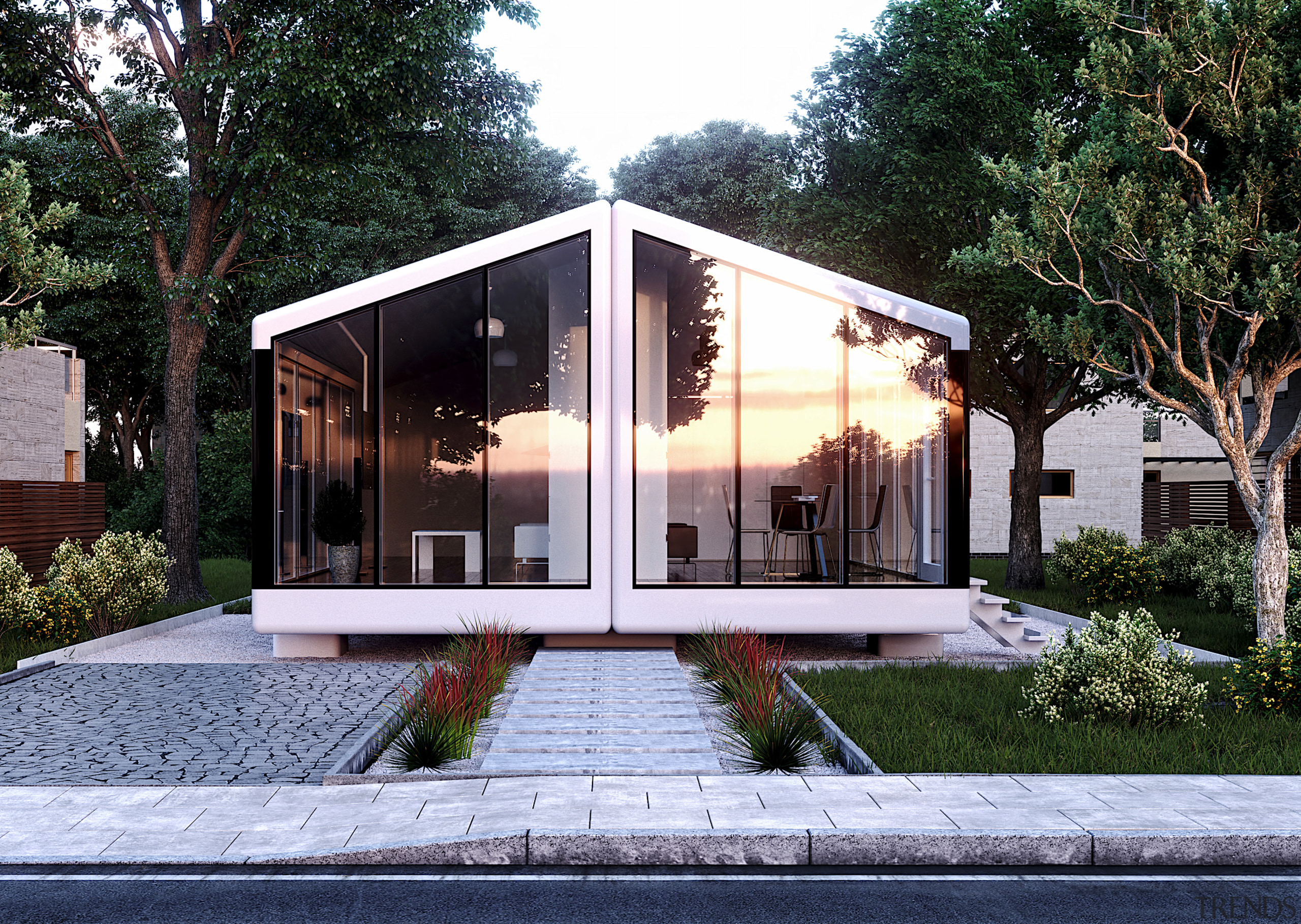 Safe house – the base grid-connected haus.me comes architecture, building, cottage, estate, facade, home, house, interior design, property, real estate, residential area, roof, room, tree, black