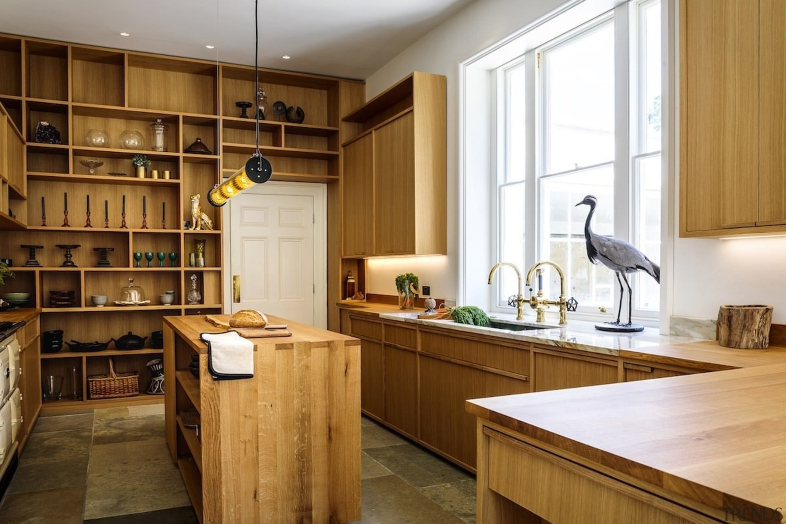 Open shelving is a great way to create cabinetry, countertop, cuisine classique, interior design, kitchen, wood, brown, white