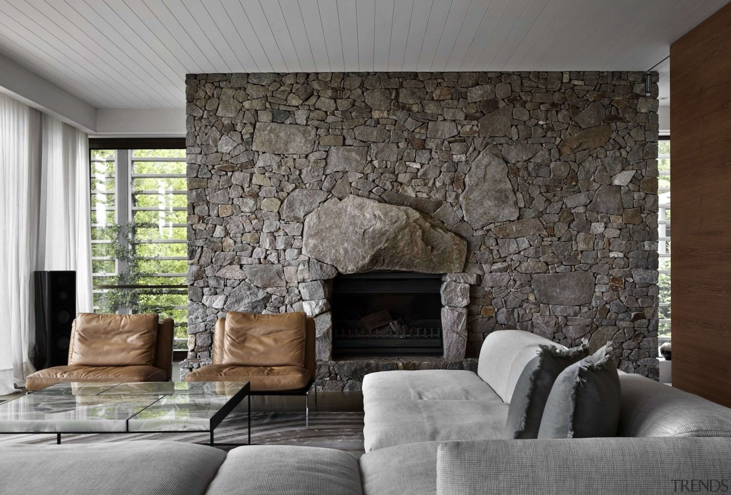 Architect: B.E Architecture ceiling, fireplace, floor, flooring, hearth, home, interior design, living room, real estate, wall, wood burning stove, gray