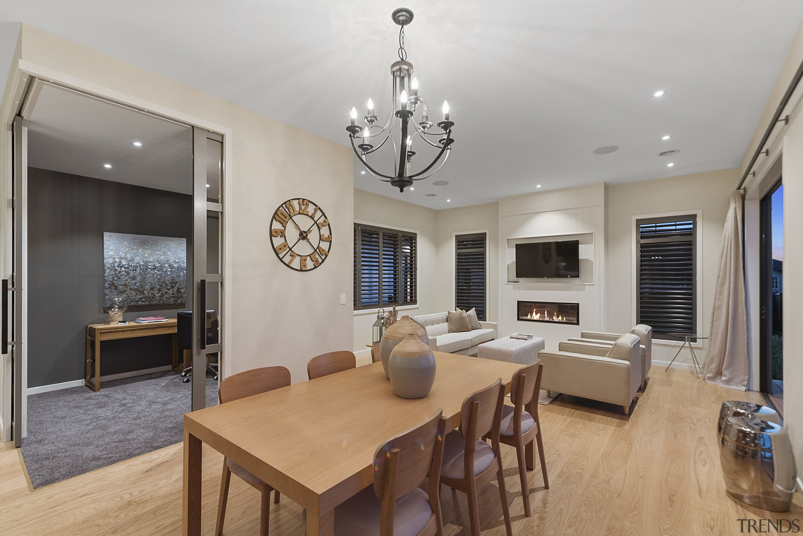Natural wood floors feature in the living spaces ceiling, dining room, interior design, living room, property, real estate, room, gray