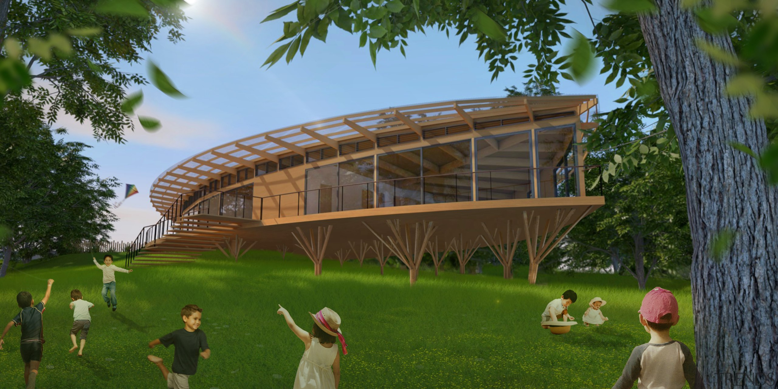 A world first in early childhood education – architecture, grass, leisure, pavilion, plant, structure, tree, brown