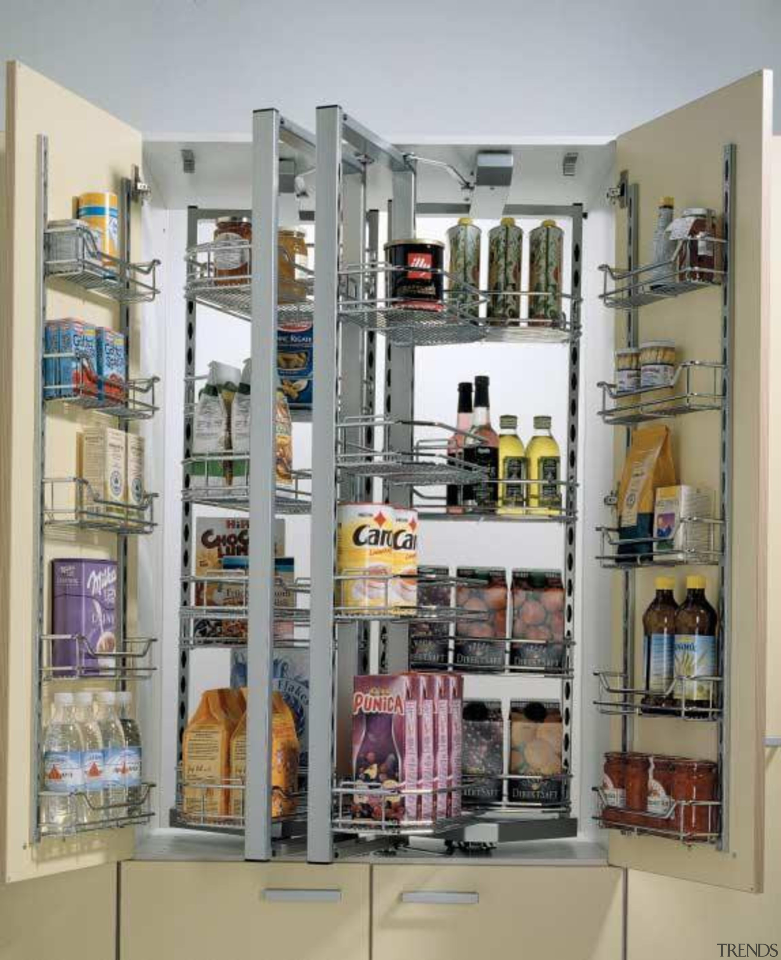 Dispensa duo unit - double - Dispensa duo bookcase, display case, furniture, inventory, pantry, shelf, shelving, gray