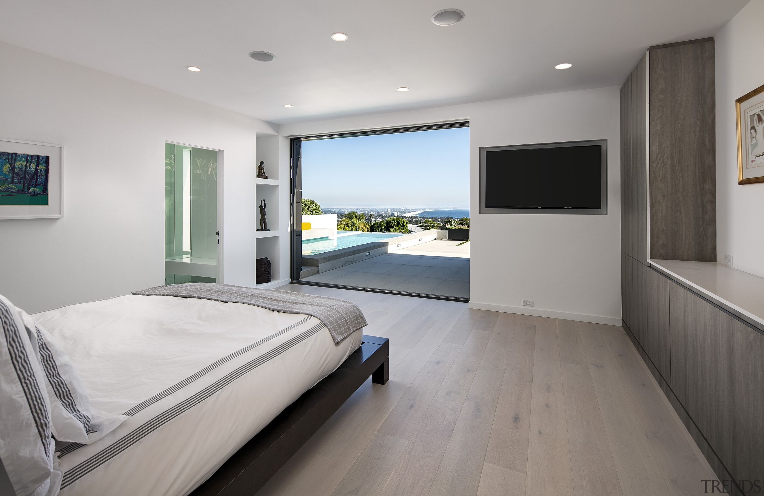 Two sliding glass panels pocket back into the bedroom, floor, interior design, property, real estate, room, window, gray