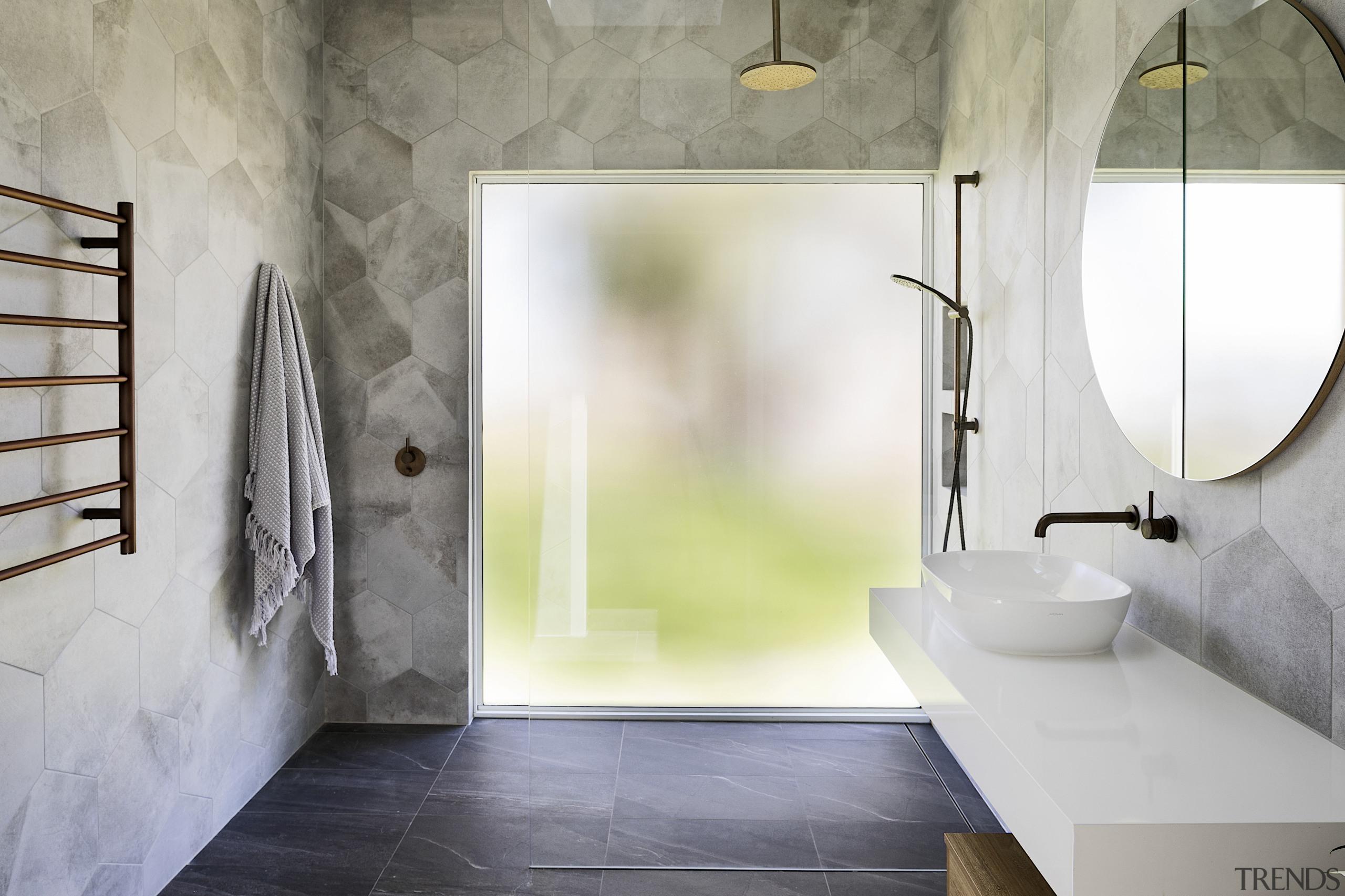 Mottled, hexagonal tiles bring a soft focus effect