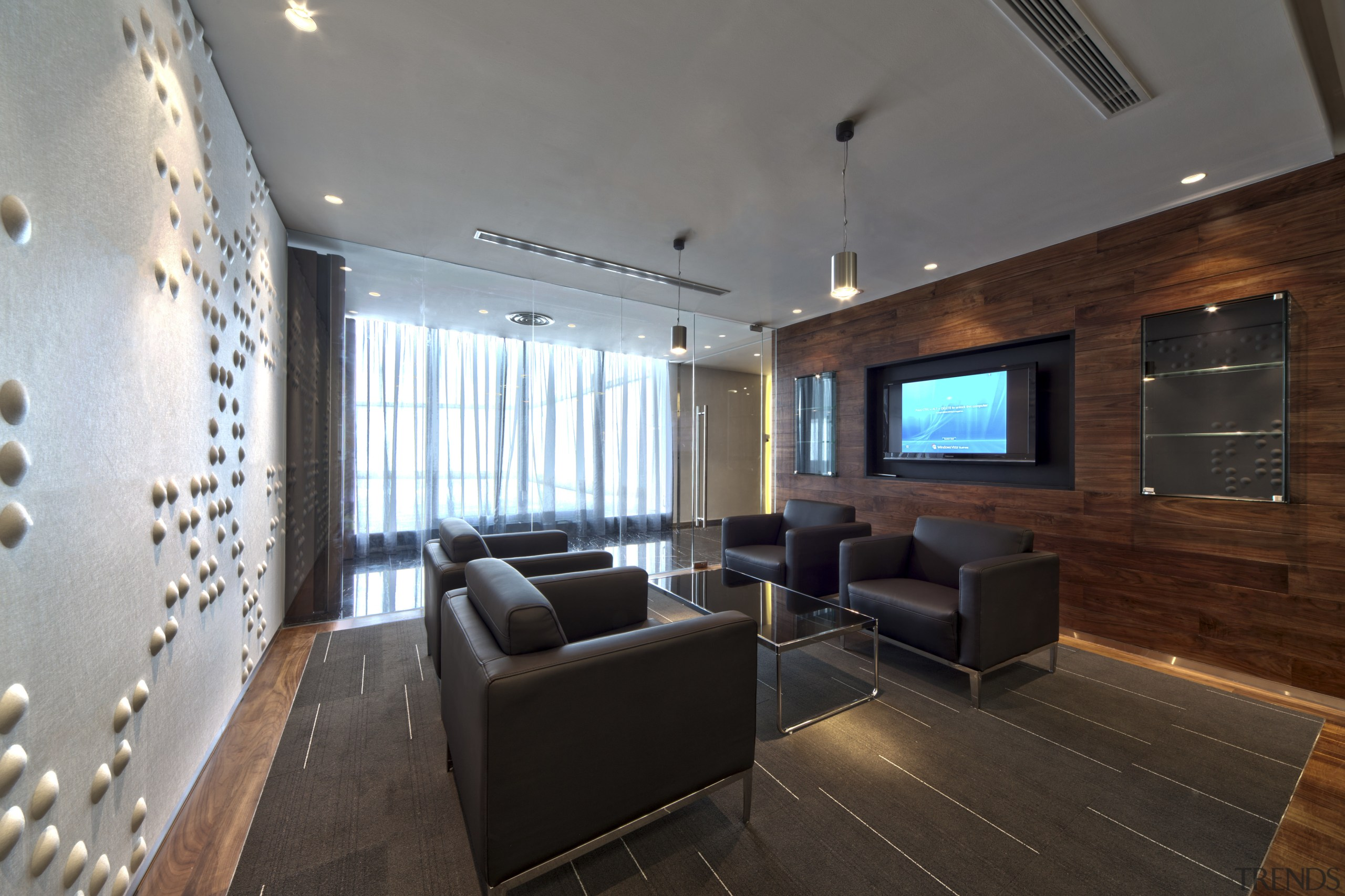 Contemporary offices of  the Real Estate Developer's architecture, ceiling, interior design, living room, lobby, real estate, room, gray, black