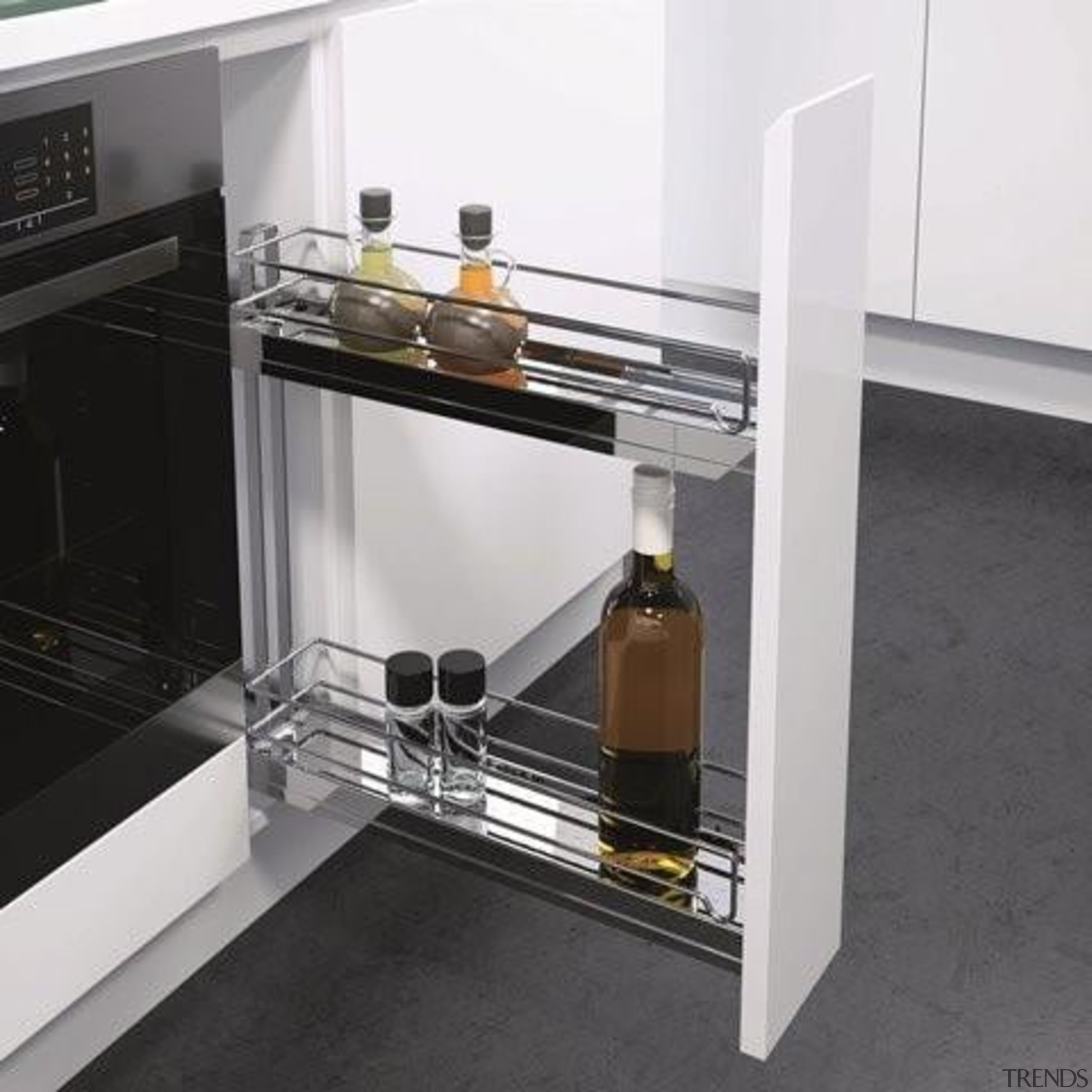 Suiting a cabinet width of just 150mm, Vauth furniture, product design, table, white, black, gray