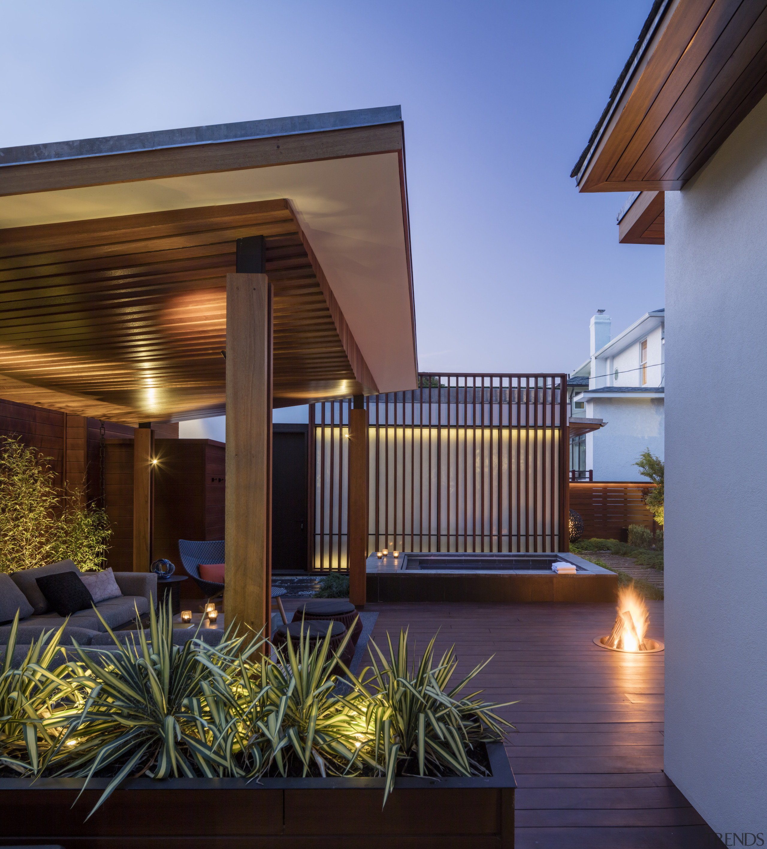The sheltered outdoor pavilion. - A hip roof