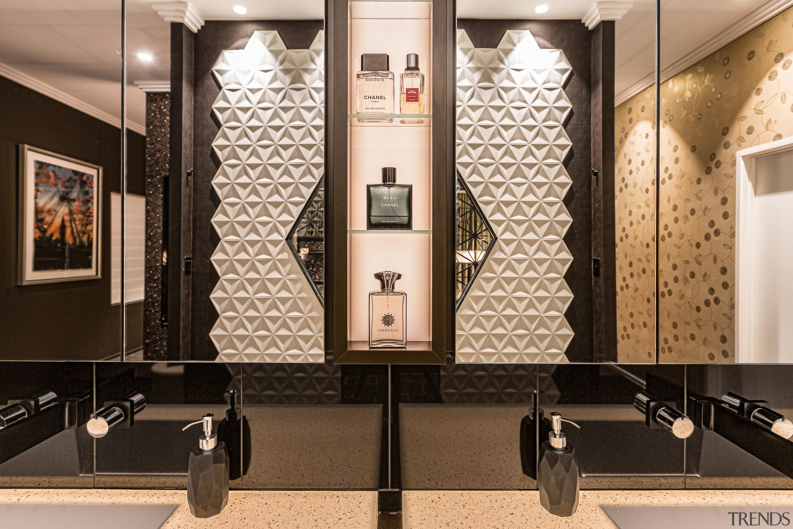 The mirror-fronted cabinet mirrors above the vanity reflect black