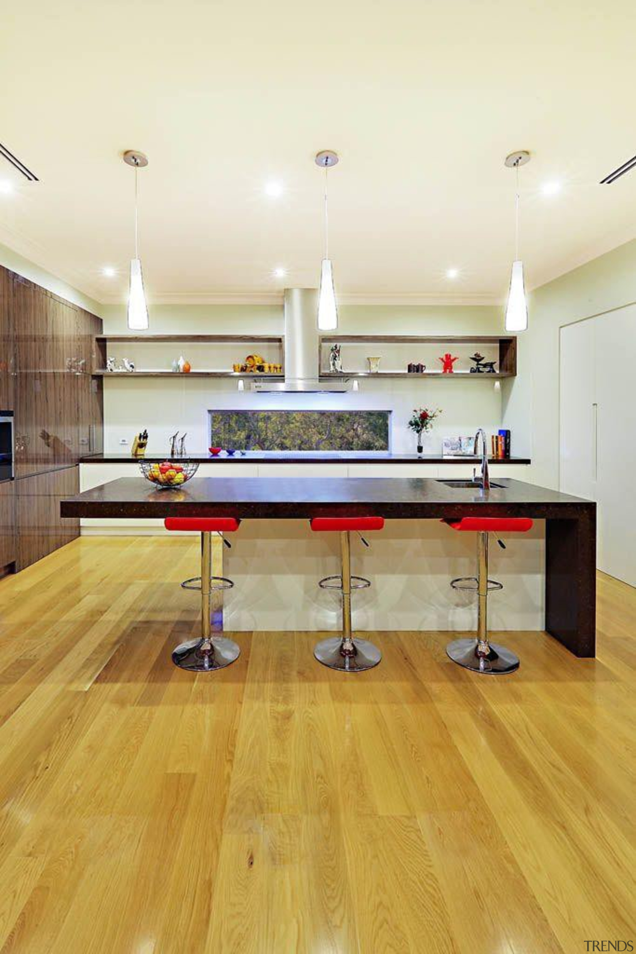 Impala Kitchens Cocoa Fudge - Cocoa Fudge™ - floor, flooring, furniture, hardwood, interior design, laminate flooring, recreation room, room, table, wood, wood flooring, white, orange