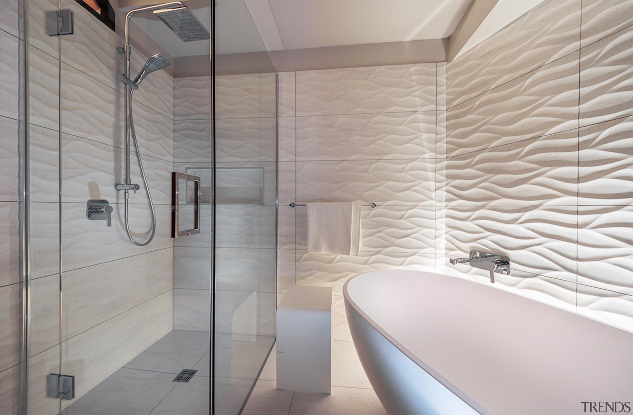 Distinctive 3D wave-pattern tiles running behind the tub architecture, bathroom, ceiling, floor, flooring, interior design, room, tile, wall, gray