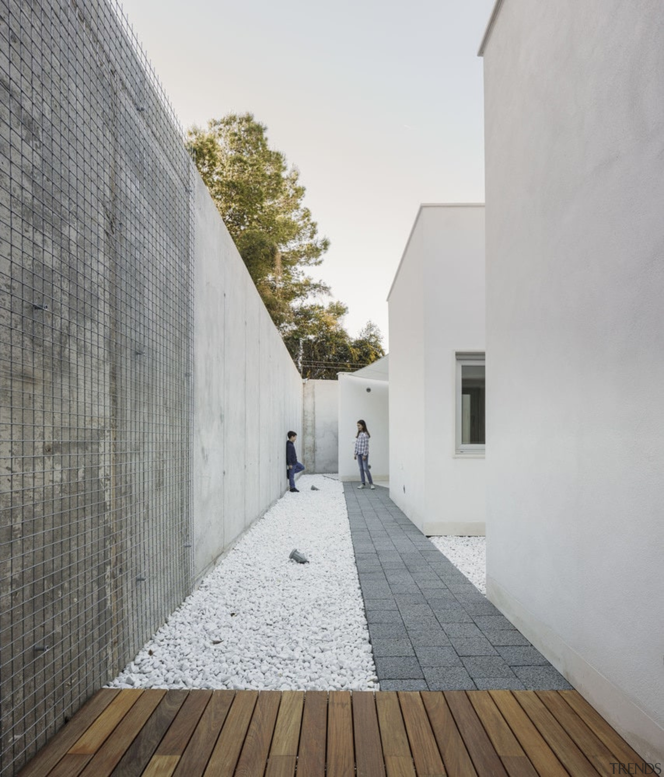 Concrete and wood give the home a natural architecture, building, daylighting, facade, house, property, sky, gray, white