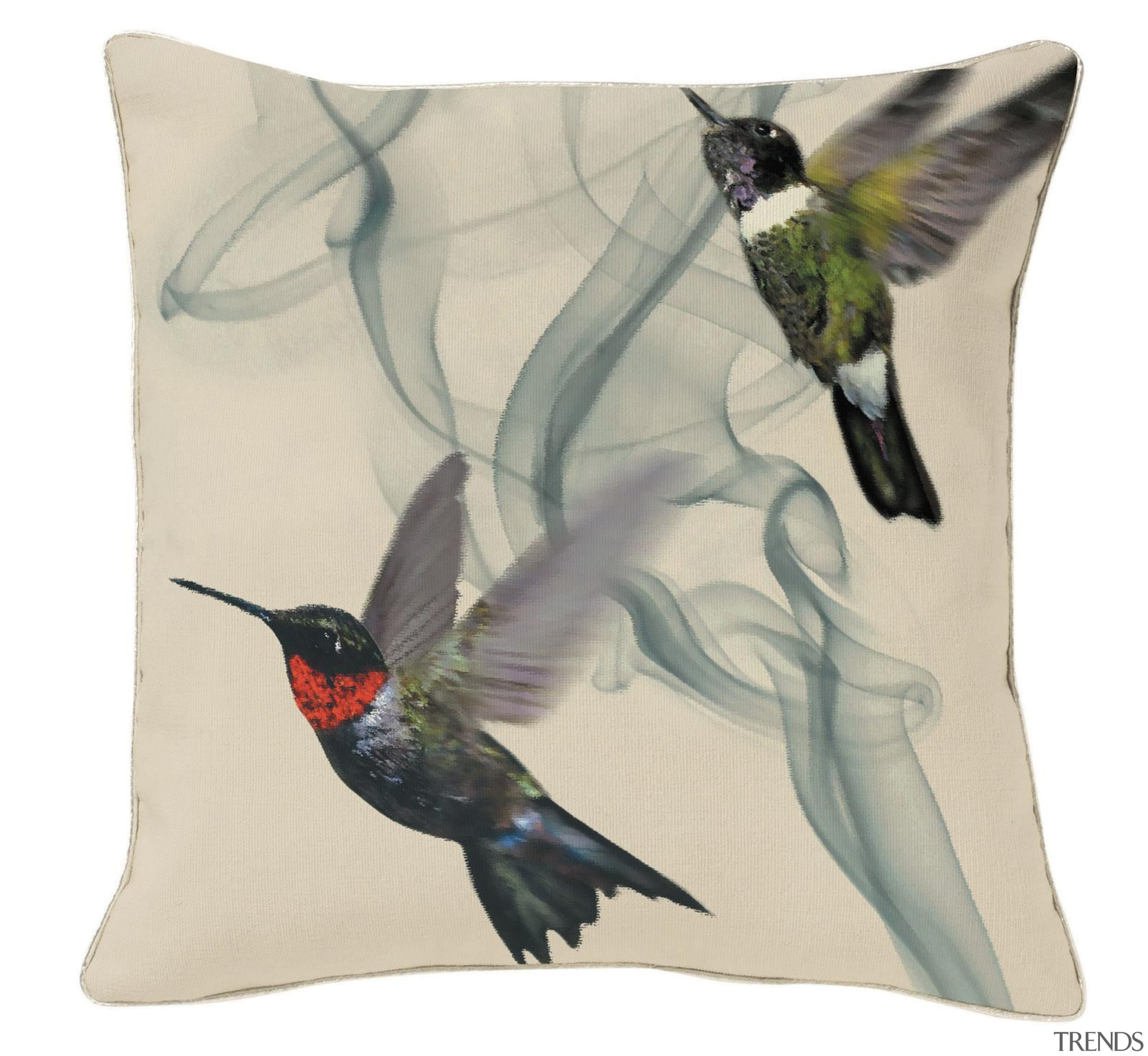 A special edition of the Hummingbird cushion.Jewel-like iridescent beak, bird, fauna, feather, hummingbird, white
