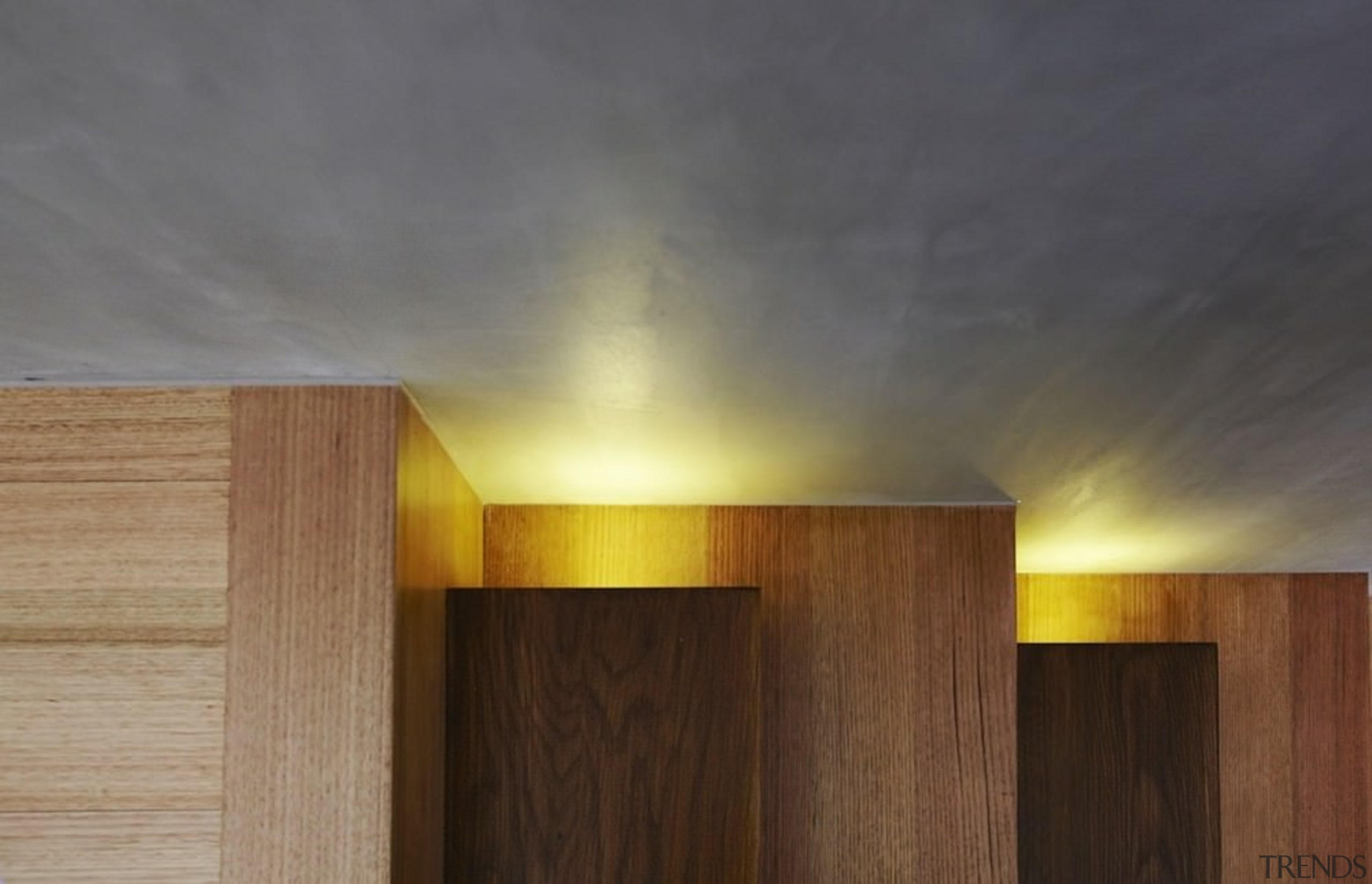 Recessed lighting bounces off the ceiling - Recessed architecture, light, light fixture, lighting, sky, wood, gray, brown