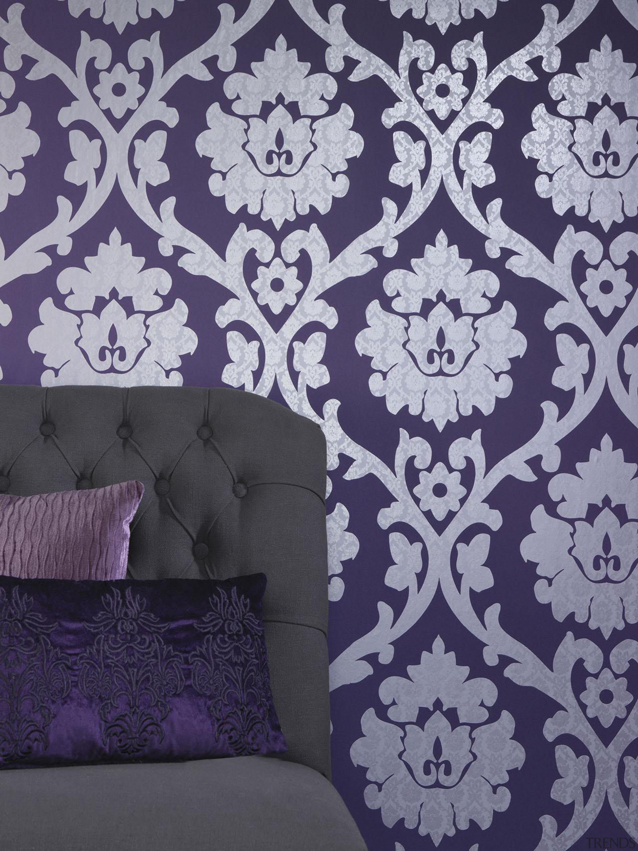 Brocante II Range - Brocante II Range - interior design, lilac, pattern, purple, violet, wall, wallpaper, gray, purple