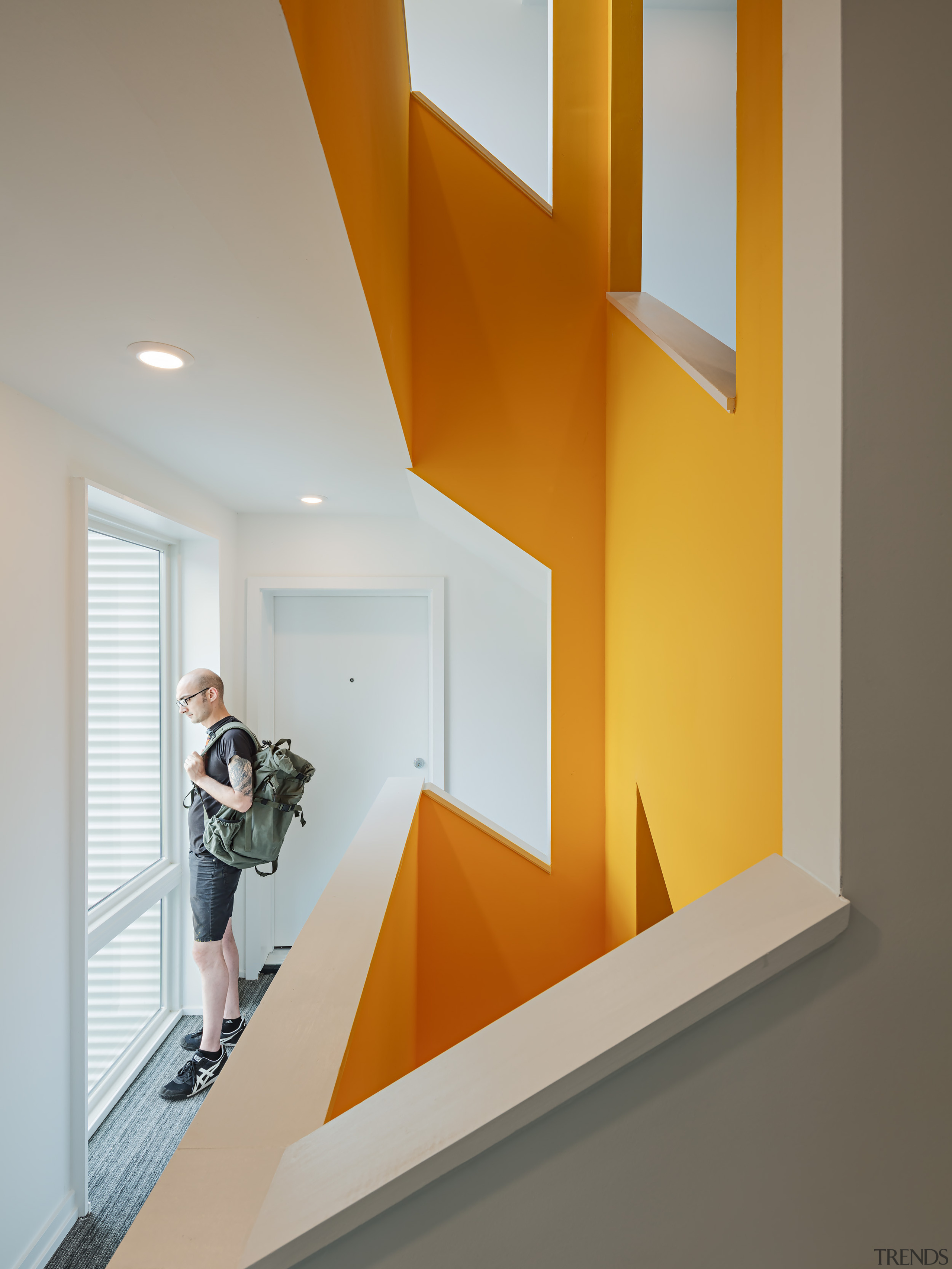 The single stair stairwell maximises space – and