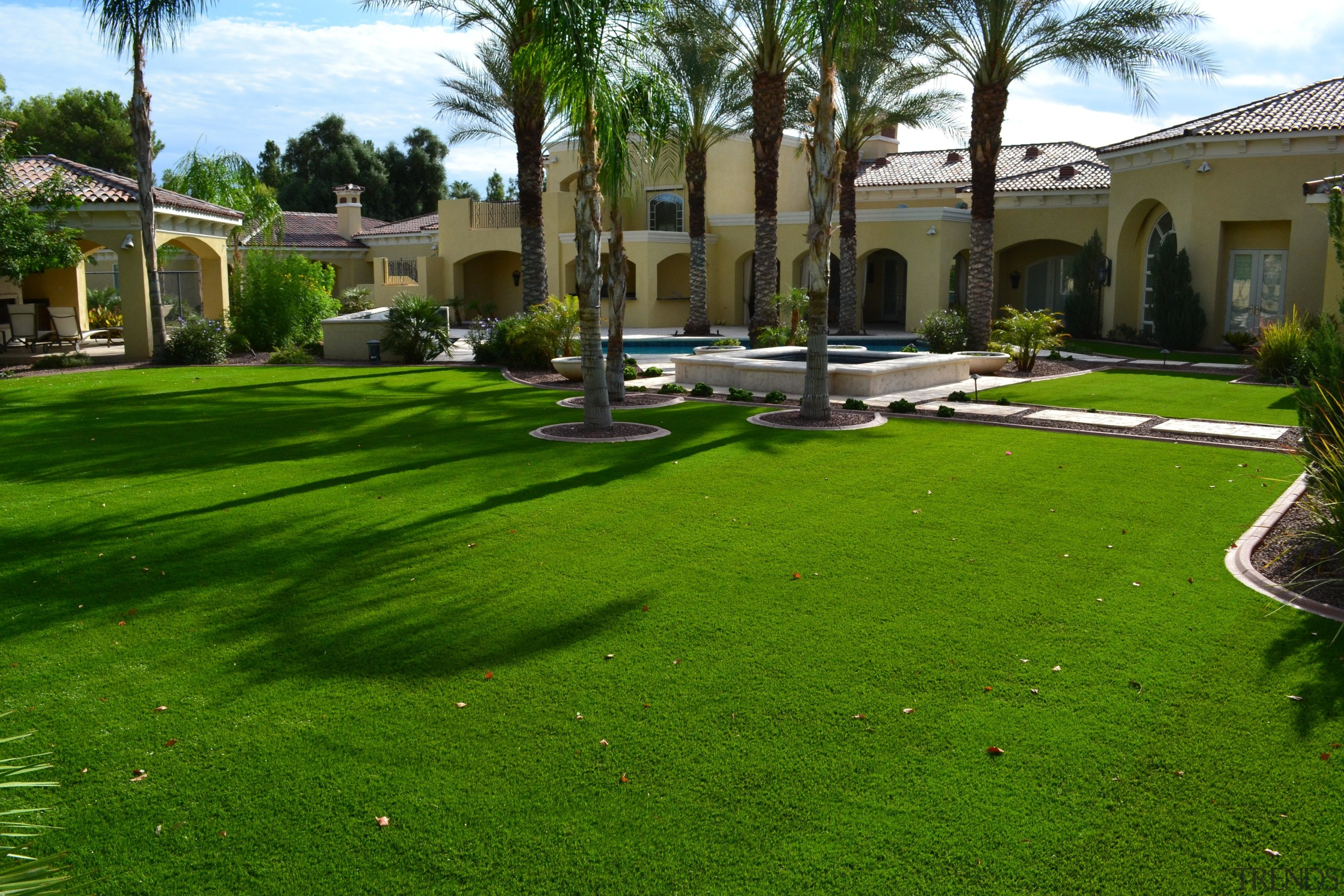 October 1 - arecales | artificial turf | arecales, artificial turf, backyard, building, courtyard, estate, garden, grass, grass family, grassland, hacienda, house, land lot, landscape, landscaping, lawn, palm tree, plant, property, real estate, residential area, tree, villa, yard, green