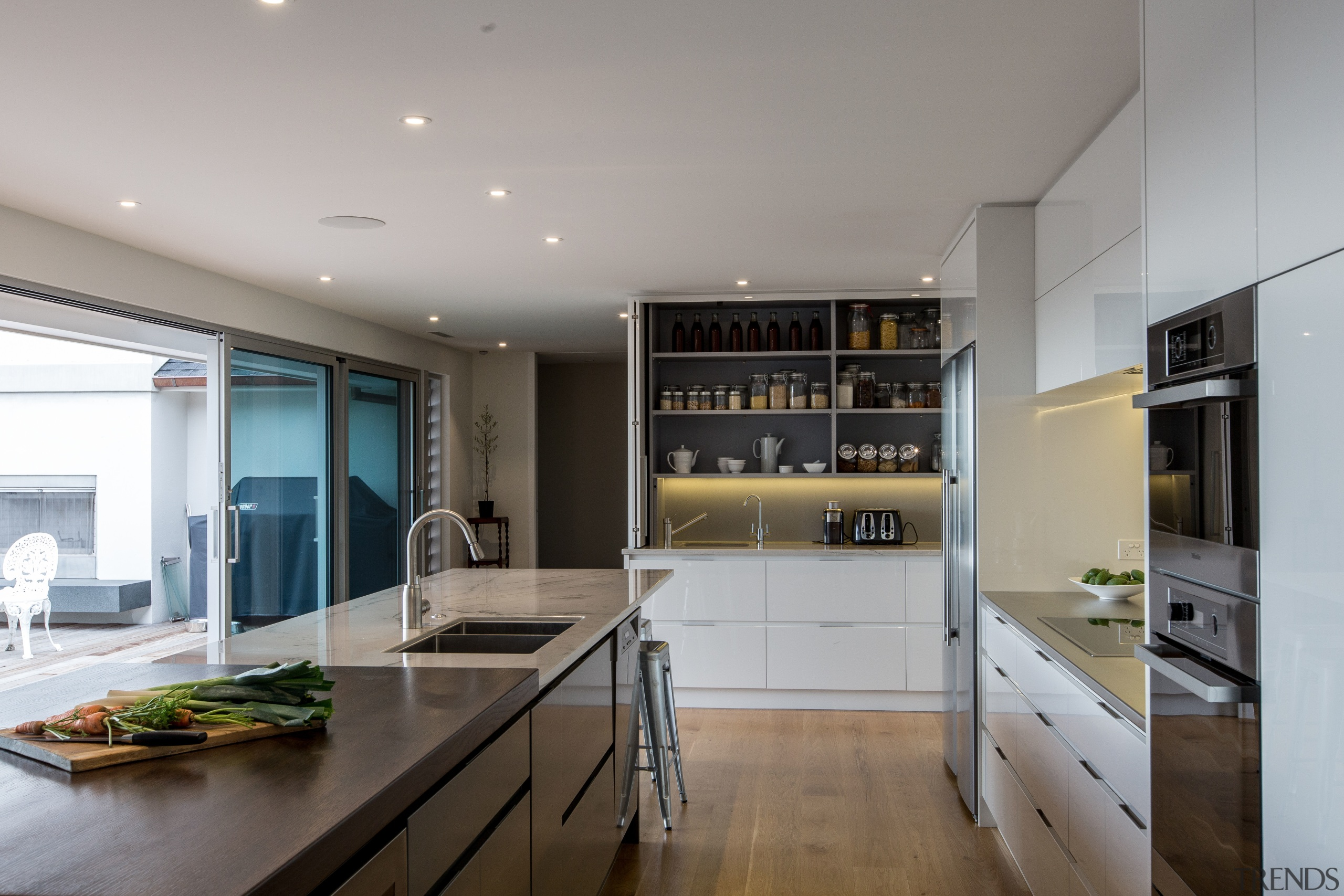 Cabinetry is in Resene Half Merino and Resene cabinetry, countertop, cuisine classique, interior design, kitchen, real estate, gray