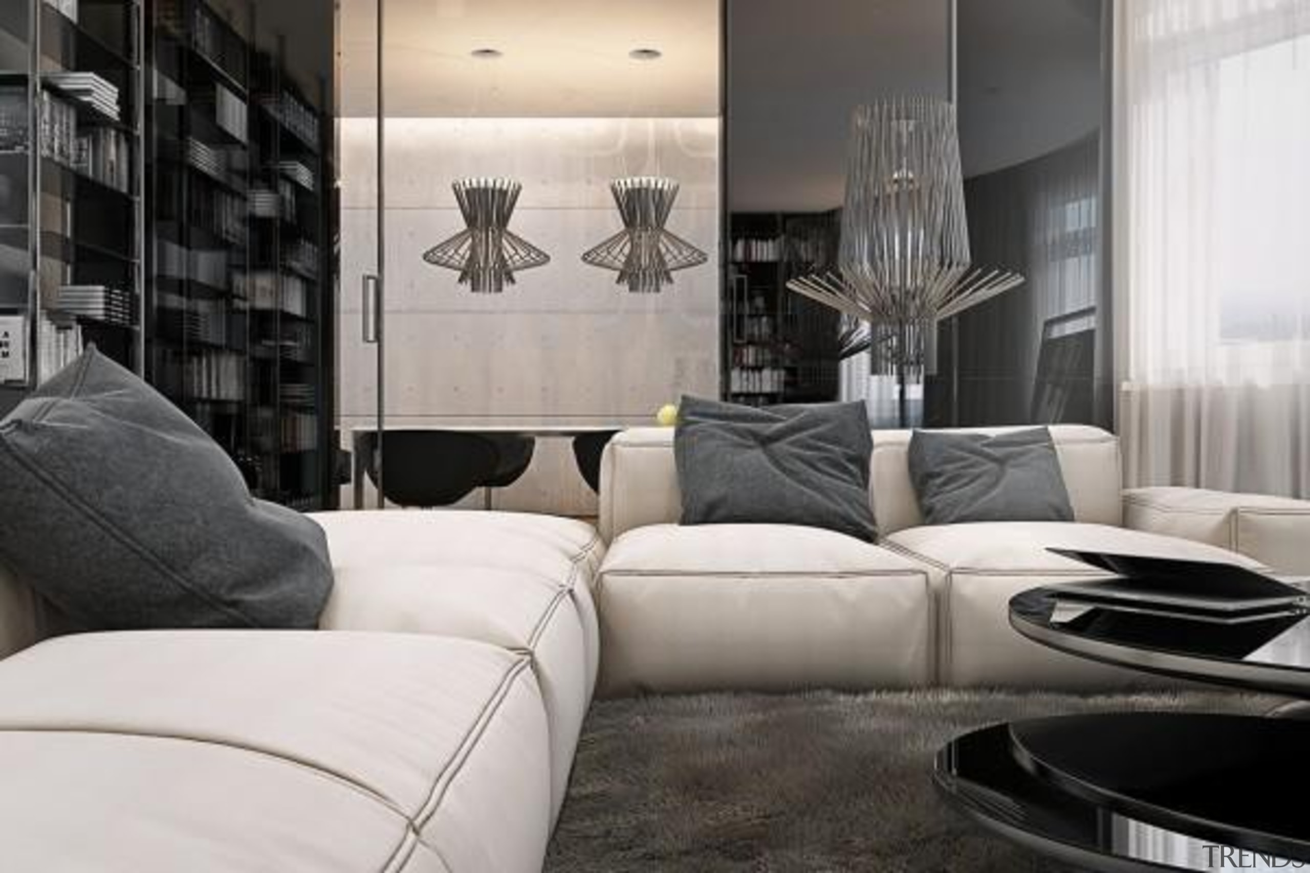 soft shag carpet - Masculine Apartments - angle angle, couch, furniture, home, interior design, living room, room, wall, white, black
