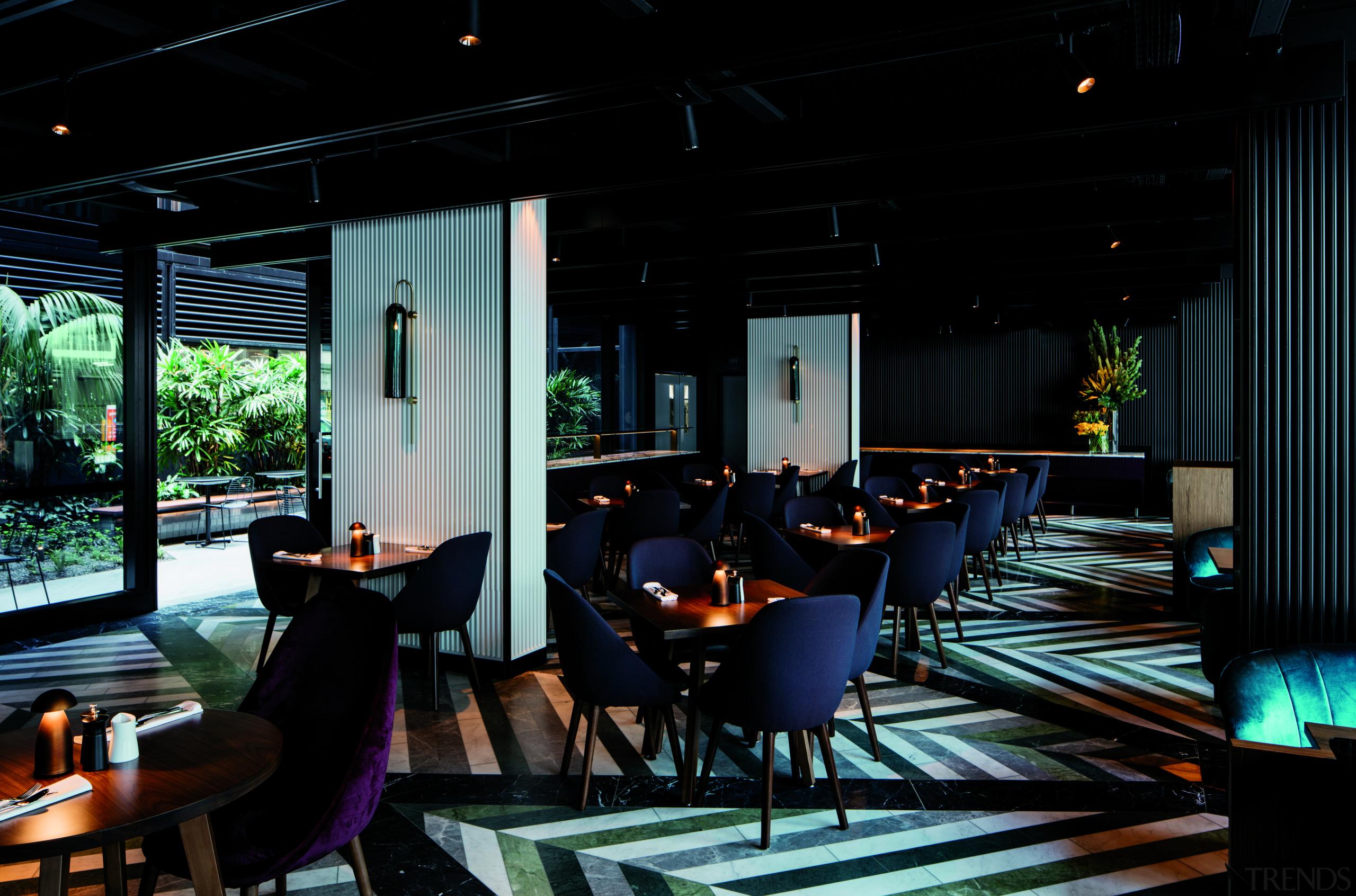 The ground-floor restaurant at West Hotel, Sydney looks interior design, lighting, restaurant, black