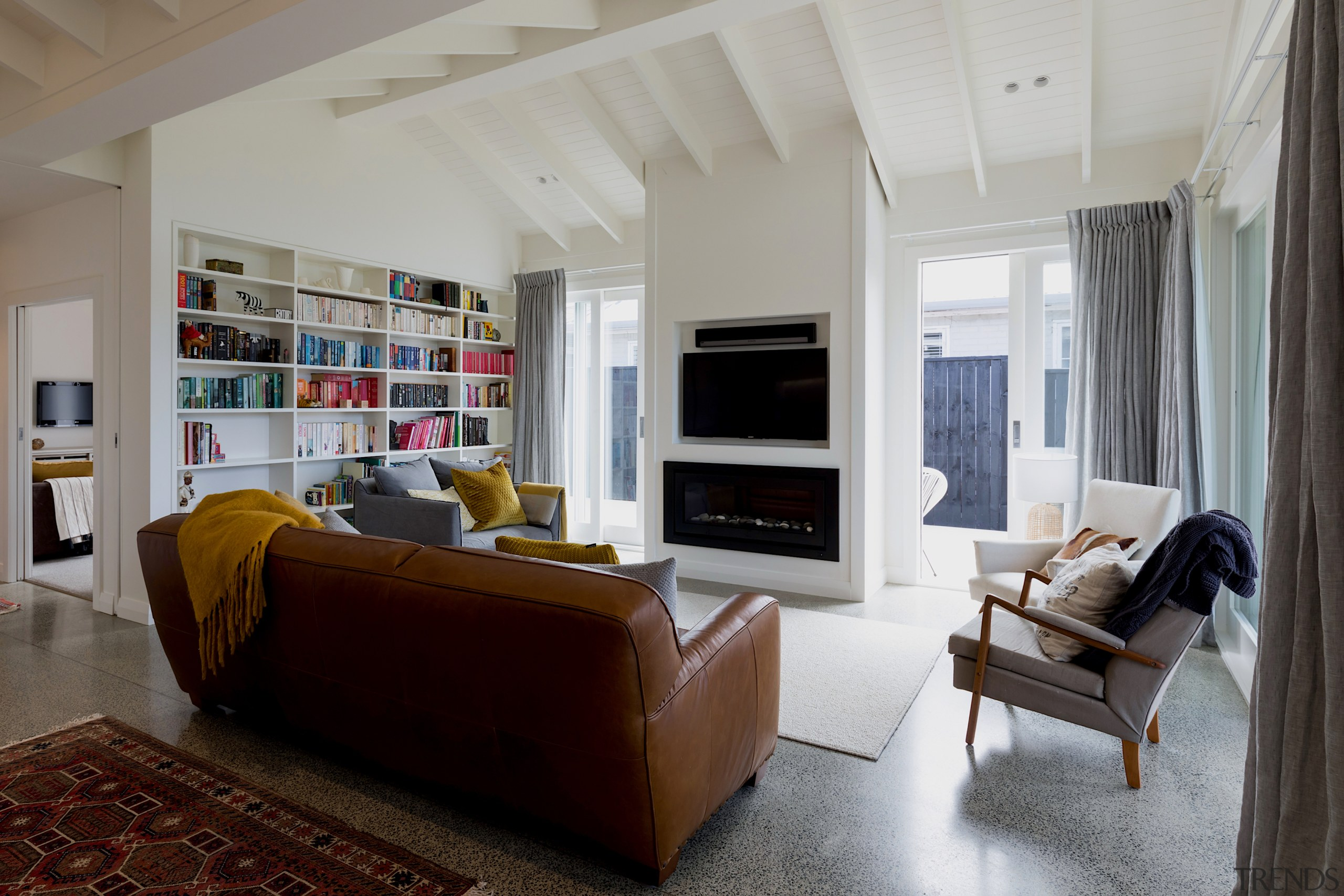 A built-in book case adds further character to