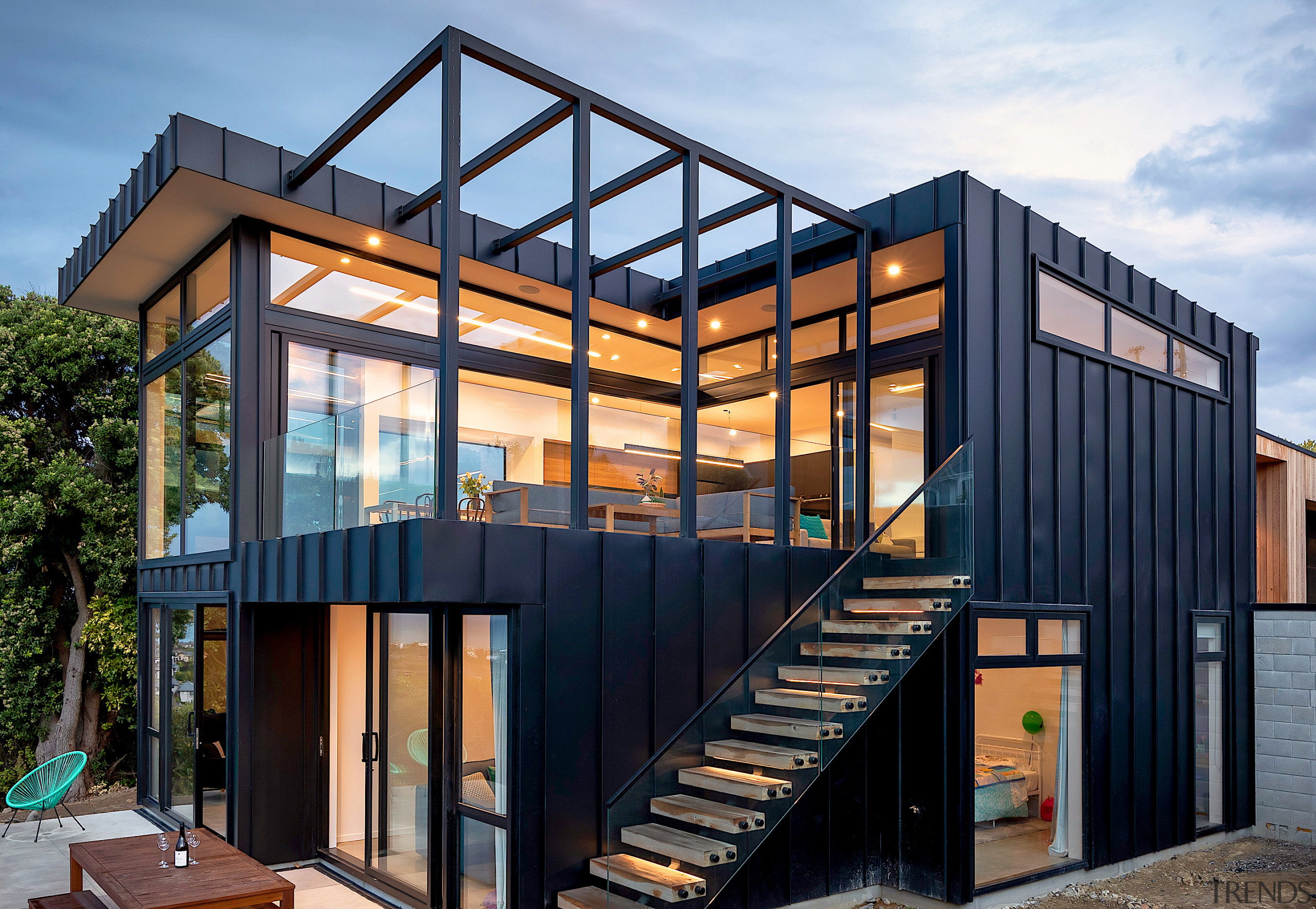 Black and wood world – the building is