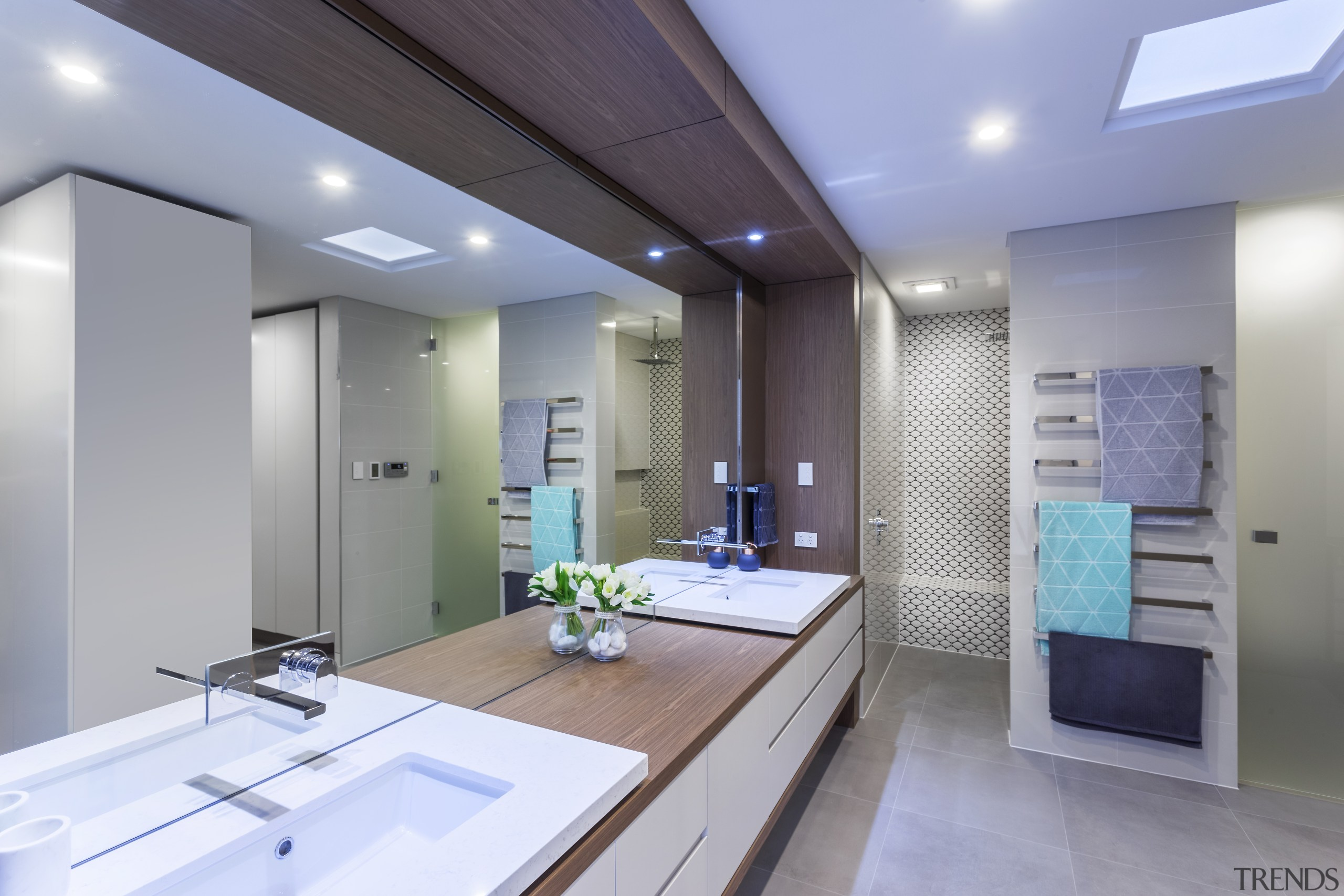 This master ensuite in an award-winning home includes architecture, bathroom, ceiling, countertop, daylighting, interior design, kitchen, real estate, room, gray