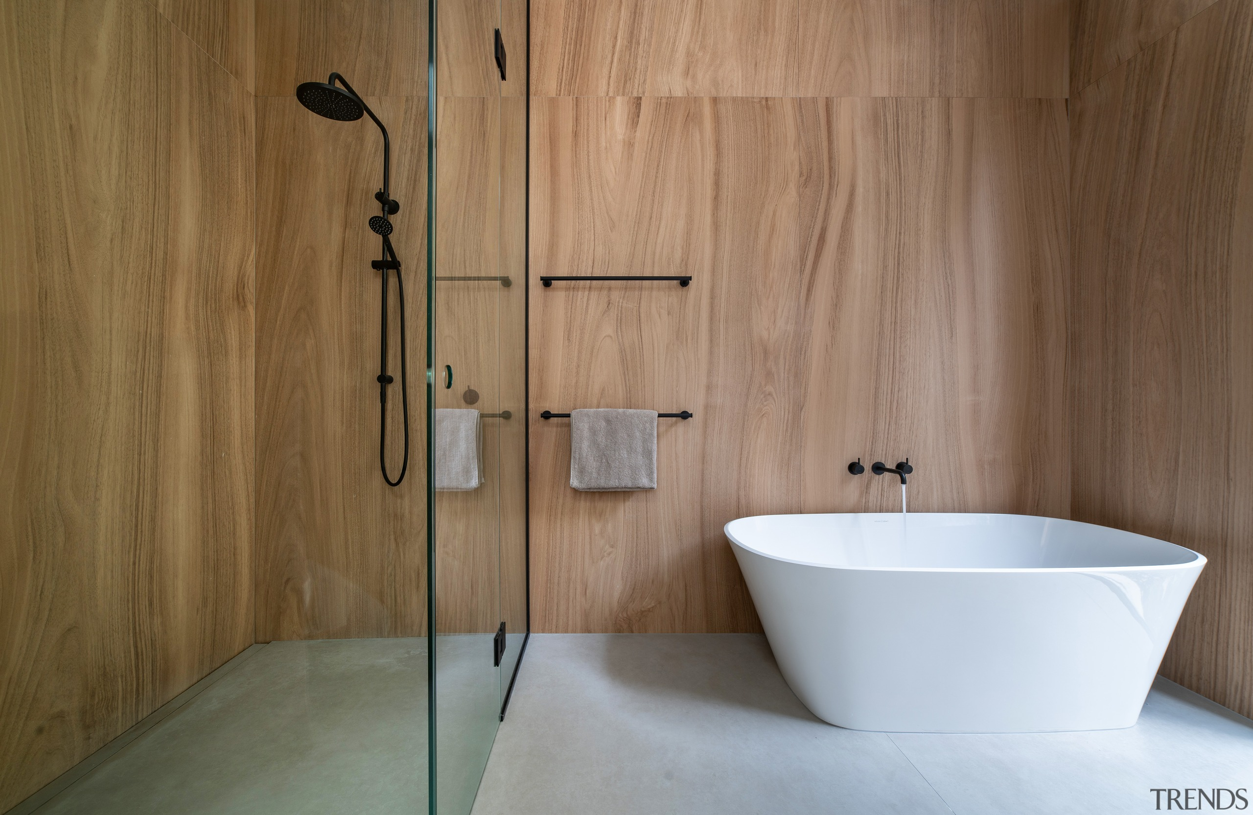 Concrete and wood make for a pleasing combination
