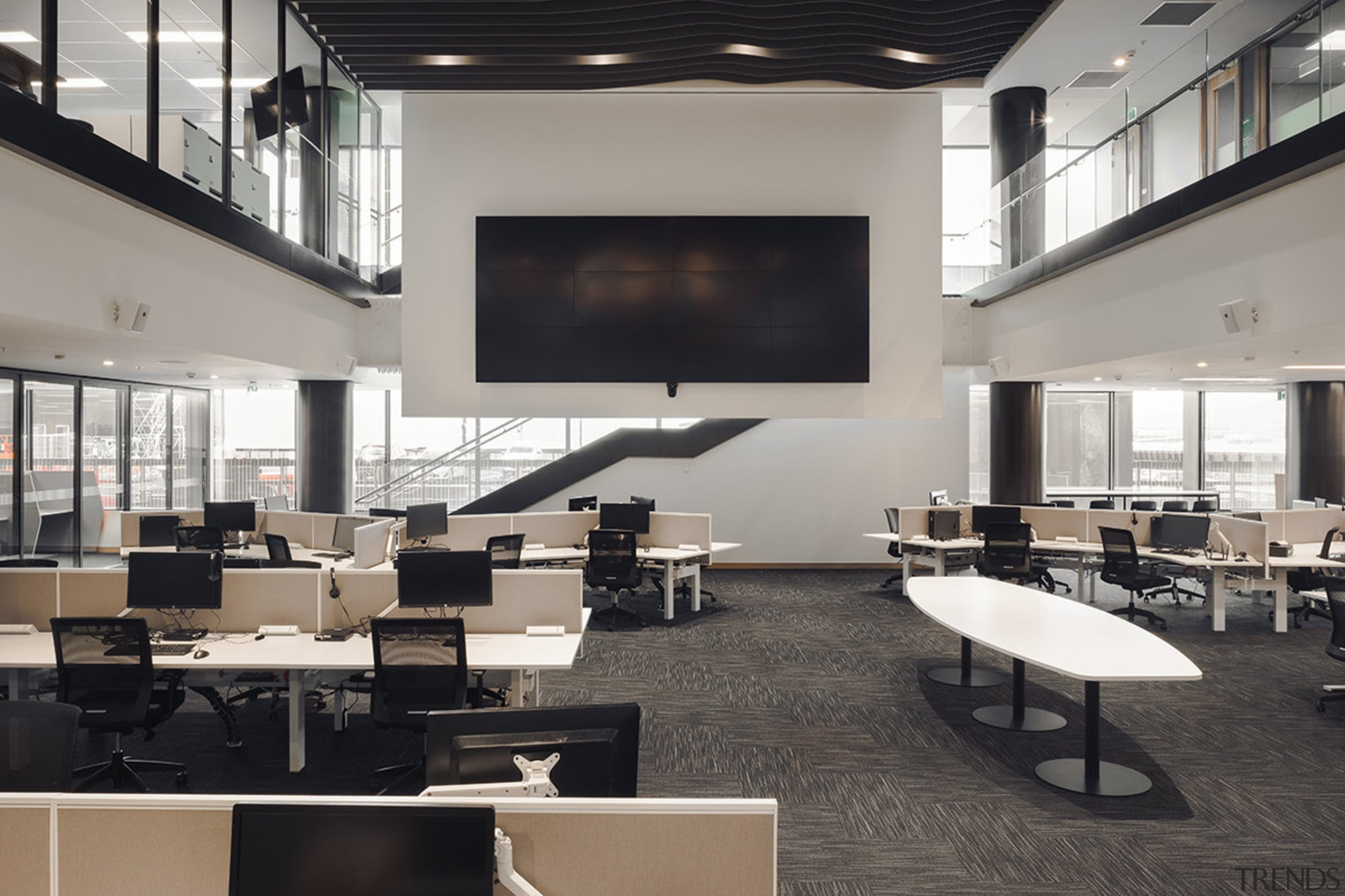 The emergency services building emergency operations centre within classroom, conference hall, furniture, institution, interior design, office, table, gray, black