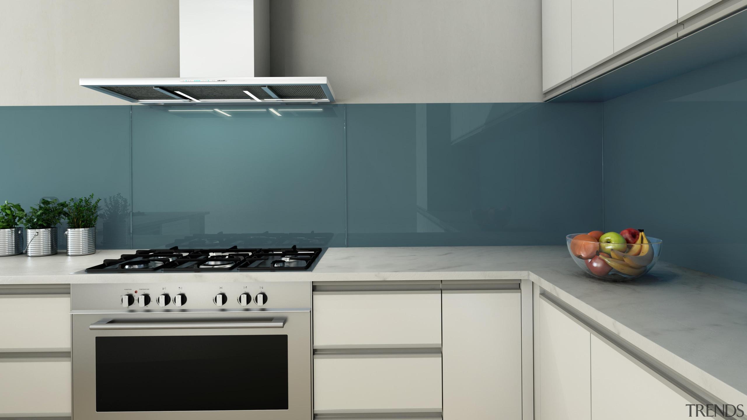 This kitchen uses Seratone Amy's Amnesia as a countertop, home appliance, interior design, kitchen, kitchen stove, product design, gray