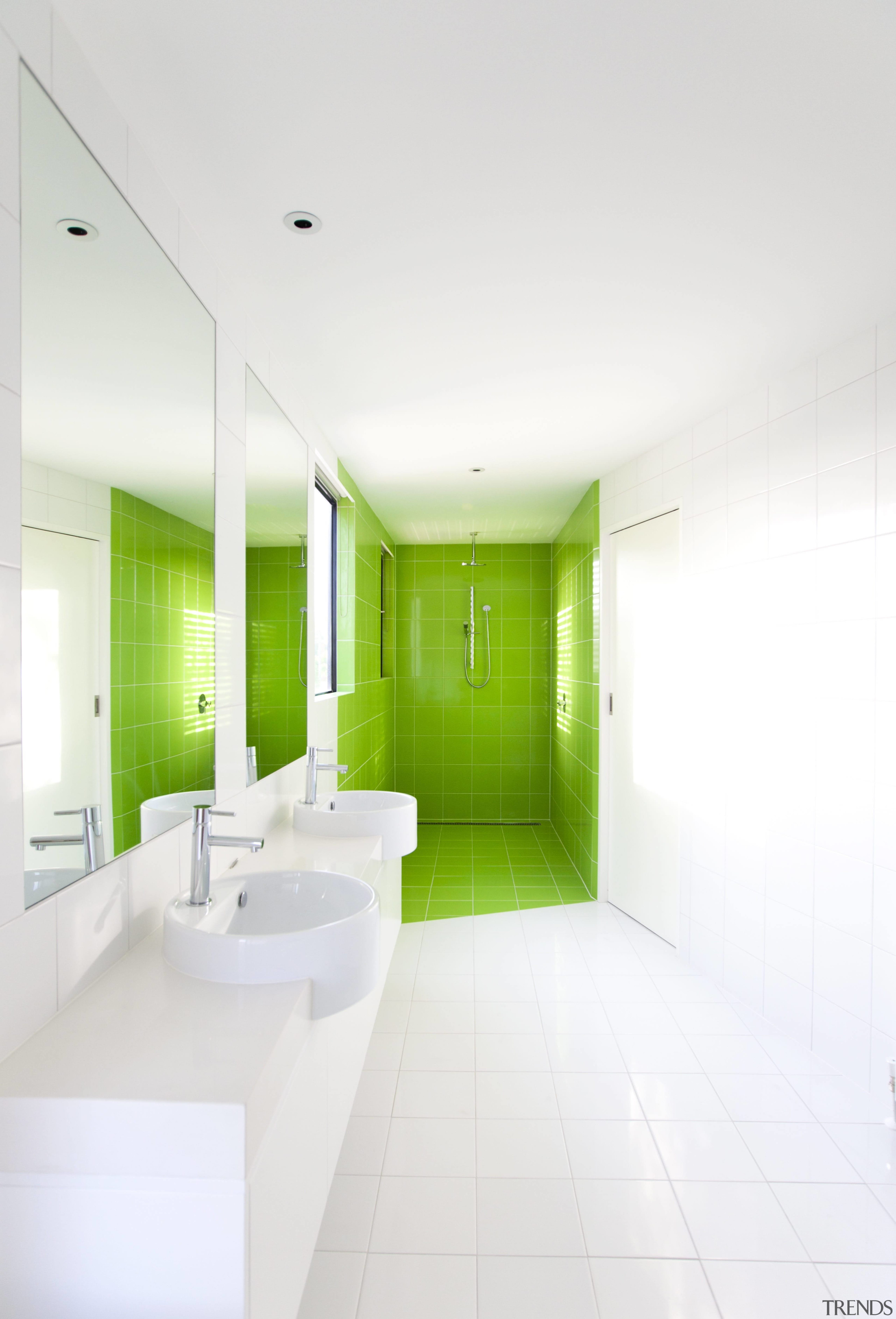 Lime green tiles book end this bathroom - architecture, bathroom, ceiling, daylighting, floor, home, house, interior design, product design, real estate, room, white