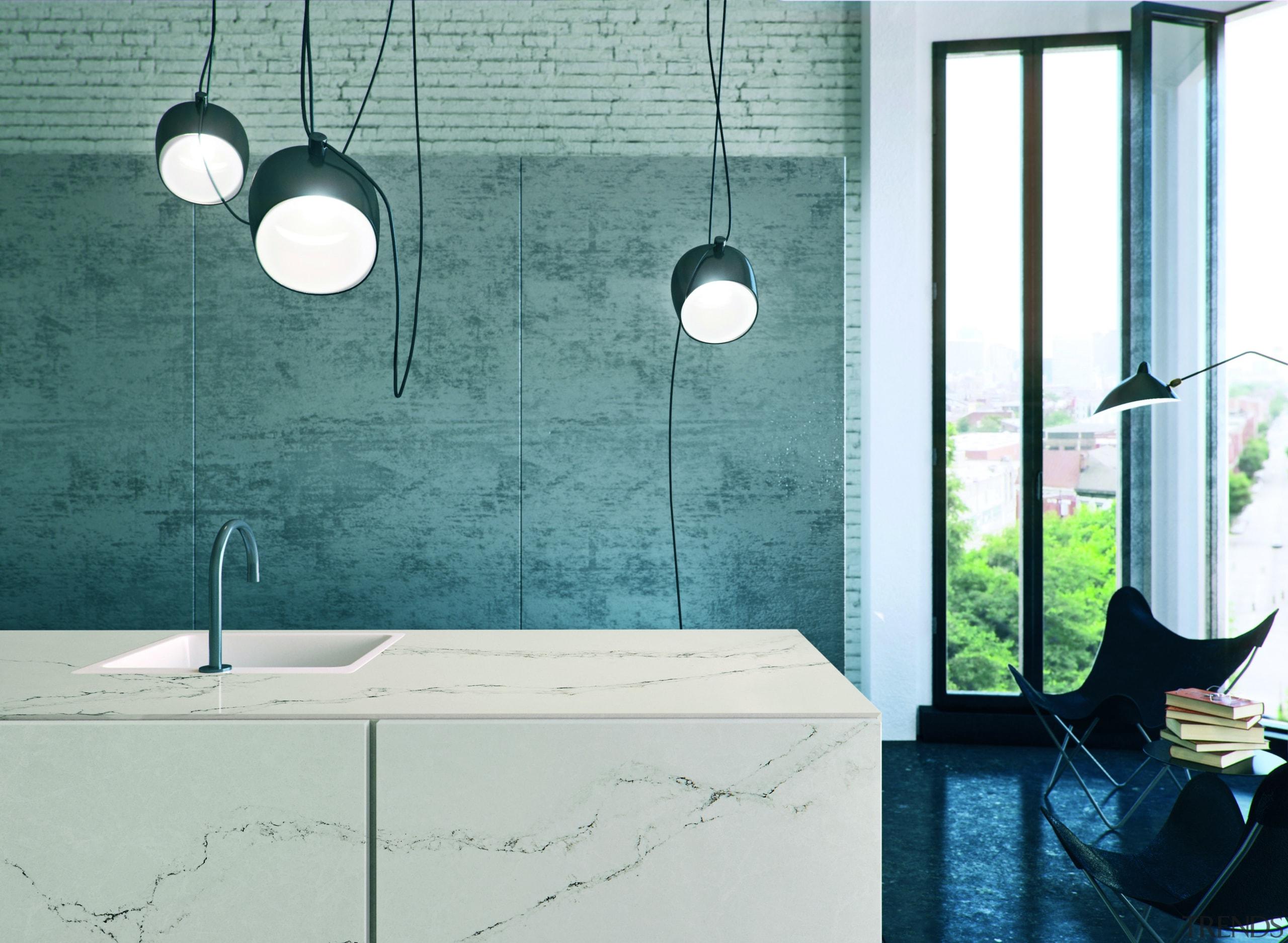 Caesarstone's interpretation of Statuario marble; Statuario Nuvo brings bathroom, floor, glass, interior design, light fixture, lighting, plumbing fixture, product design, sink, tap, tile, wall, teal, white