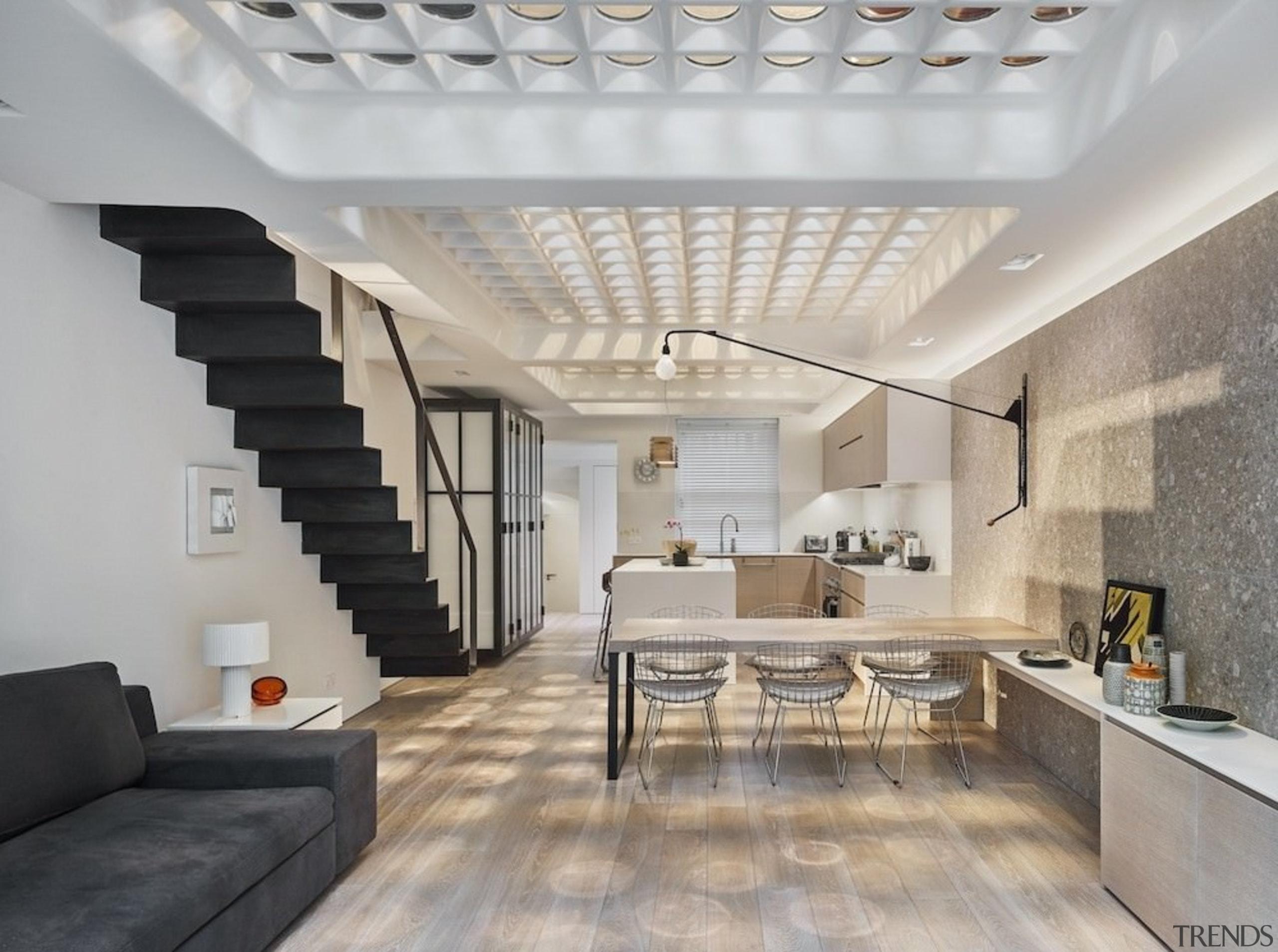 Andy Martin Architecture – Renovation in London - ceiling, daylighting, floor, interior design, interior designer, living room, loft, real estate, gray