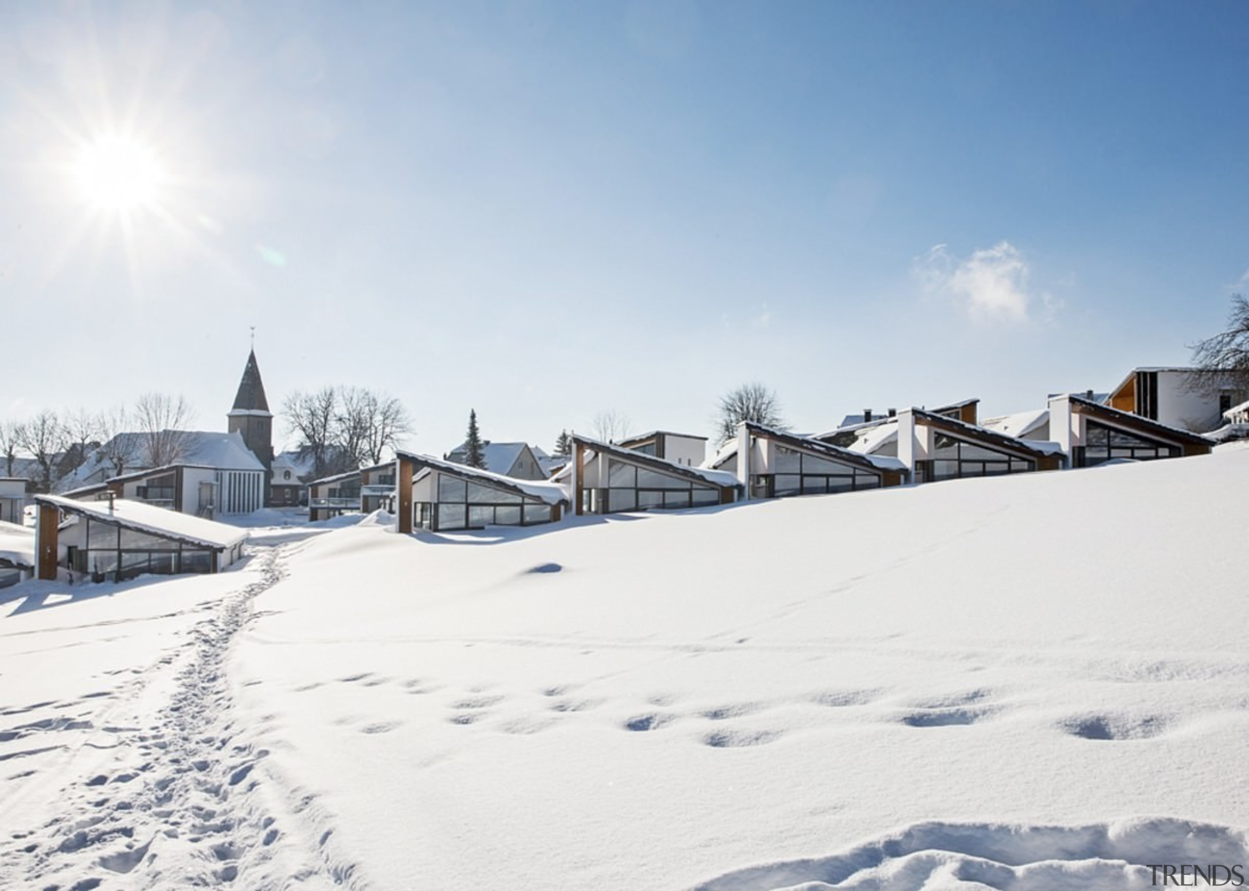 The angled roofs are essential when winter rolls cloud, freezing, mountain range, piste, roof, sky, snow, winter, white