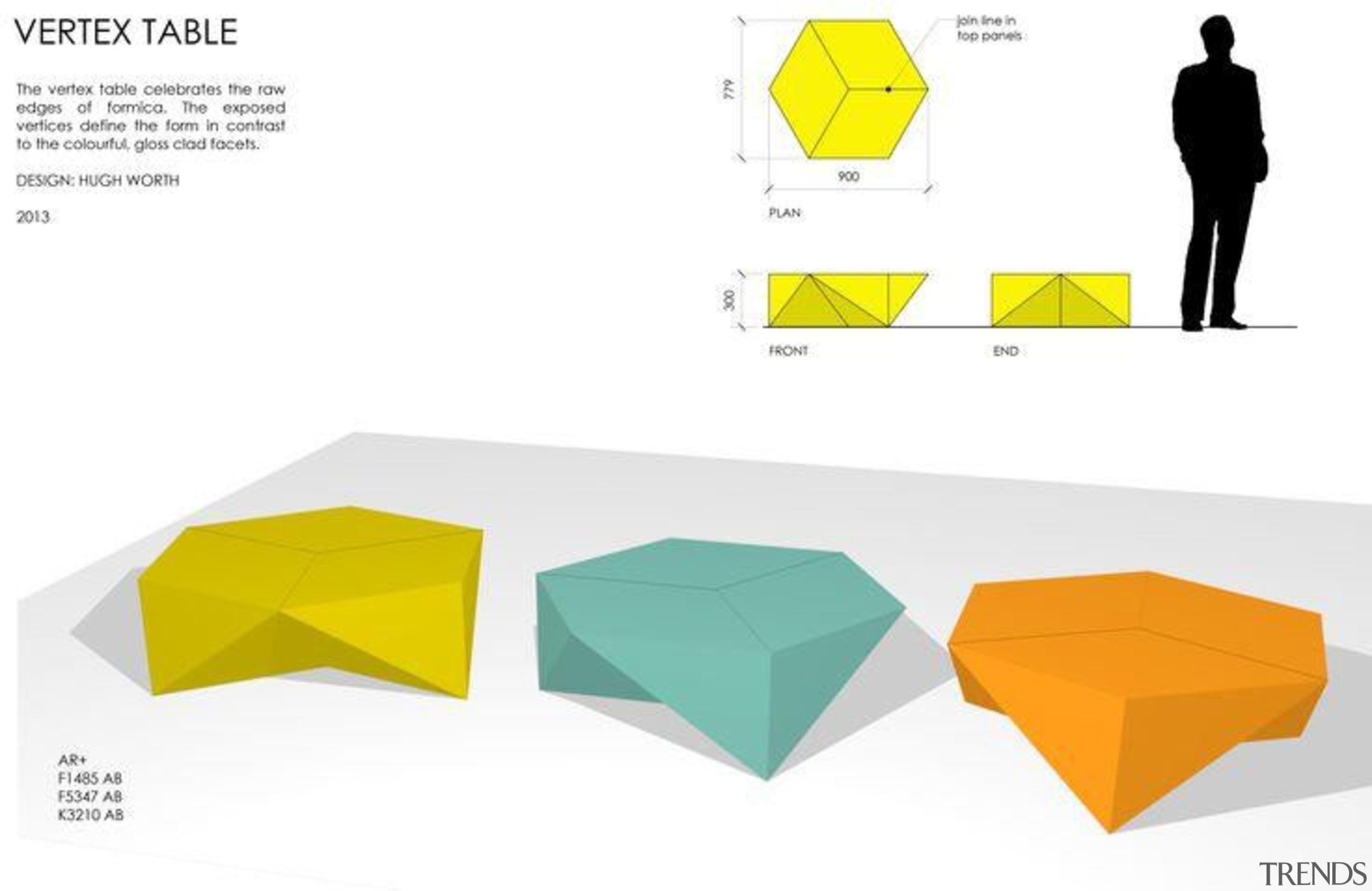 by Hugh Worth - Vertex Table - angle angle, design, diagram, furniture, line, product, product design, table, triangle, yellow, white