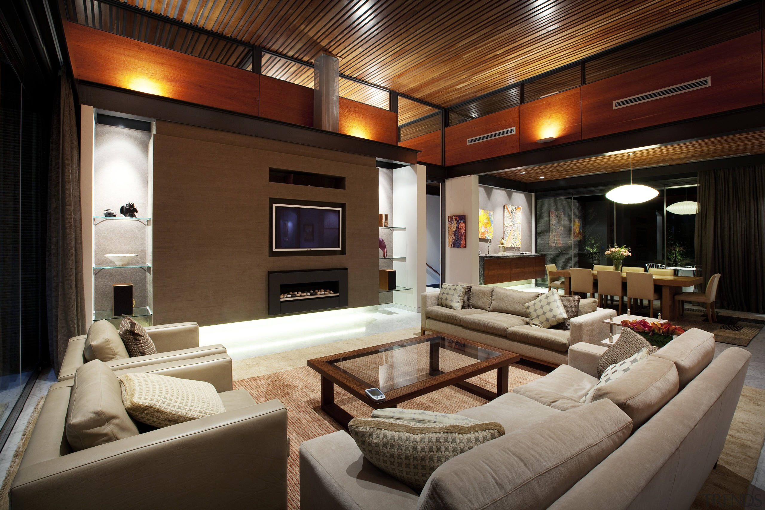 High clerestory windows are a feature of this ceiling, interior design, living room, real estate, room, brown