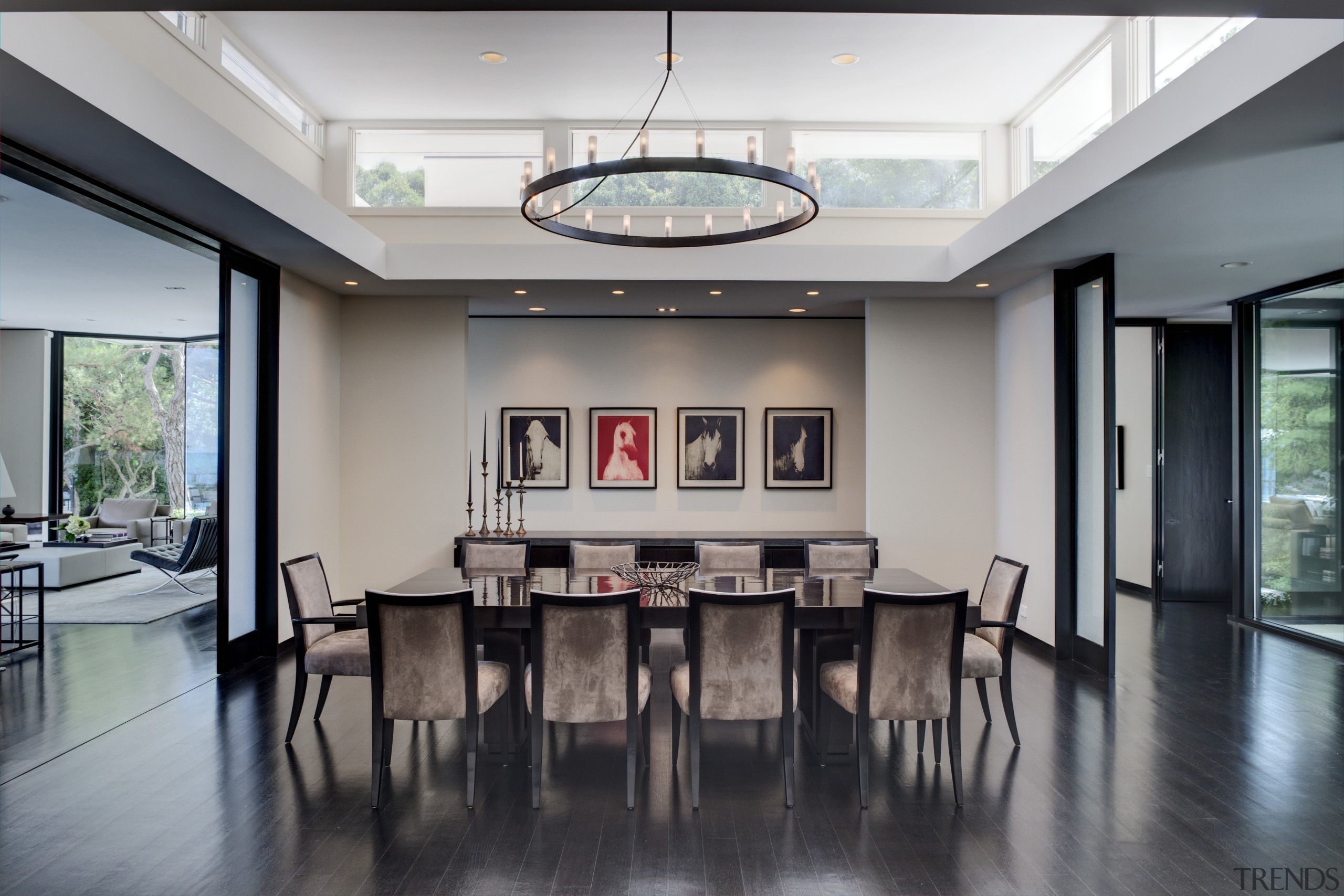 View of dining area in a 1970's house ceiling, conference hall, floor, interior design, living room, lobby, property, real estate, table, gray, black