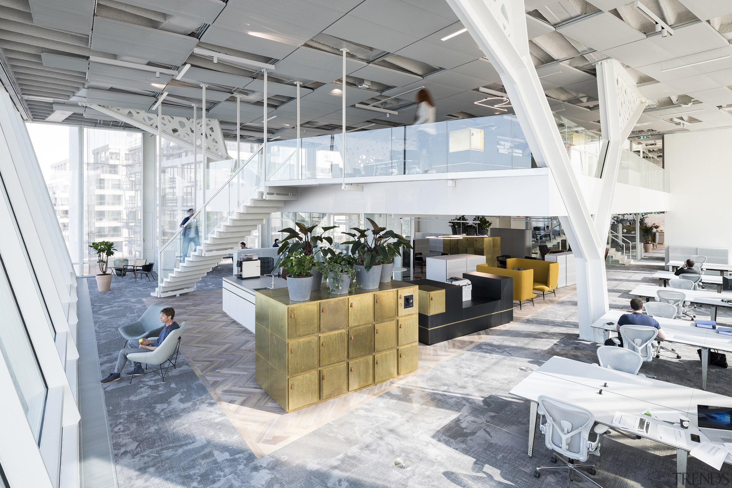 This overview takes in the office workplaces and architecture, building, ceiling, design, factory, floor, flooring, house, interior design, office, property, real estate, room, white, gray