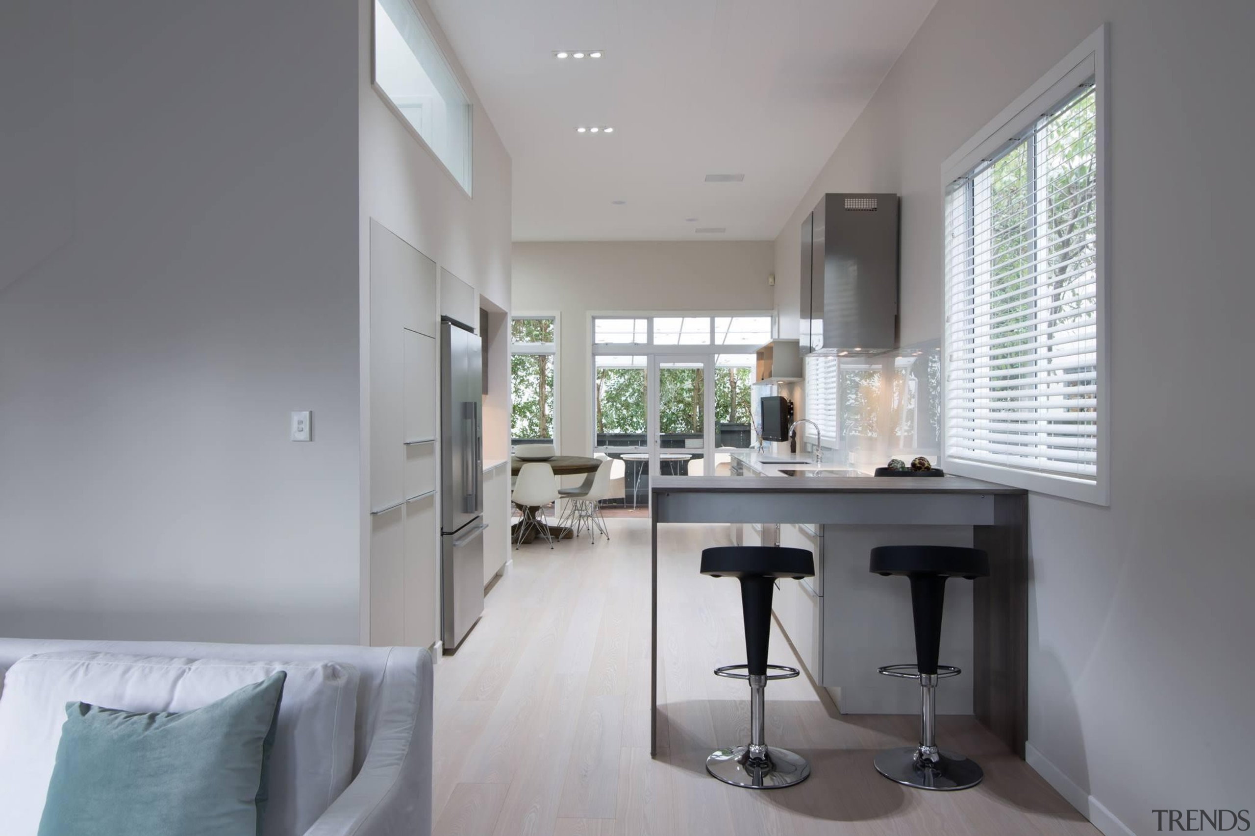Simple, Modern and Clean Kitchen. The built in architecture, daylighting, floor, home, house, interior design, property, real estate, window, gray