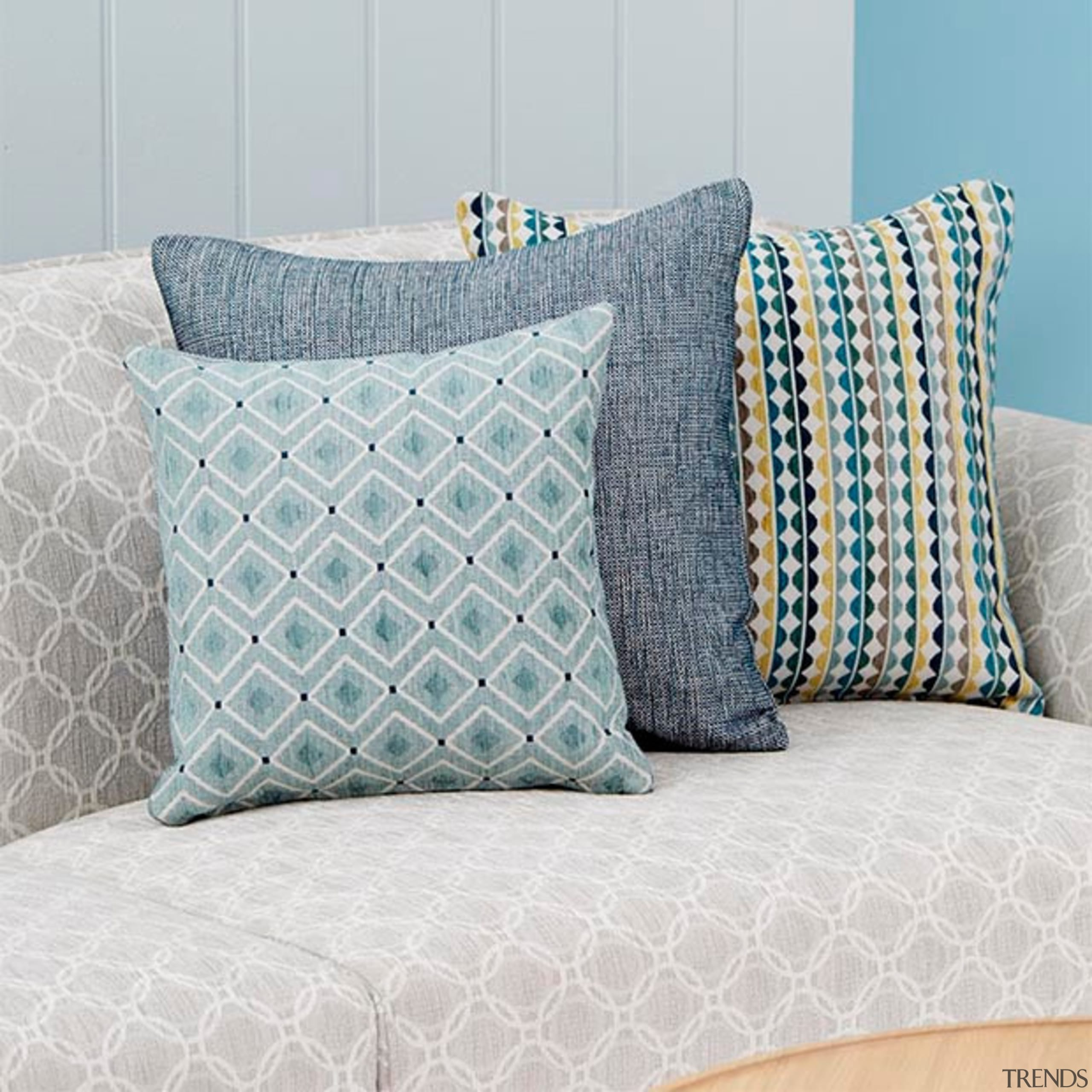 Bold, playful and unique, Nolan is a collection aqua, bed frame, bed sheet, bedding, cushion, duvet cover, furniture, linens, pattern, pillow, product, textile, throw pillow, turquoise, gray, white
