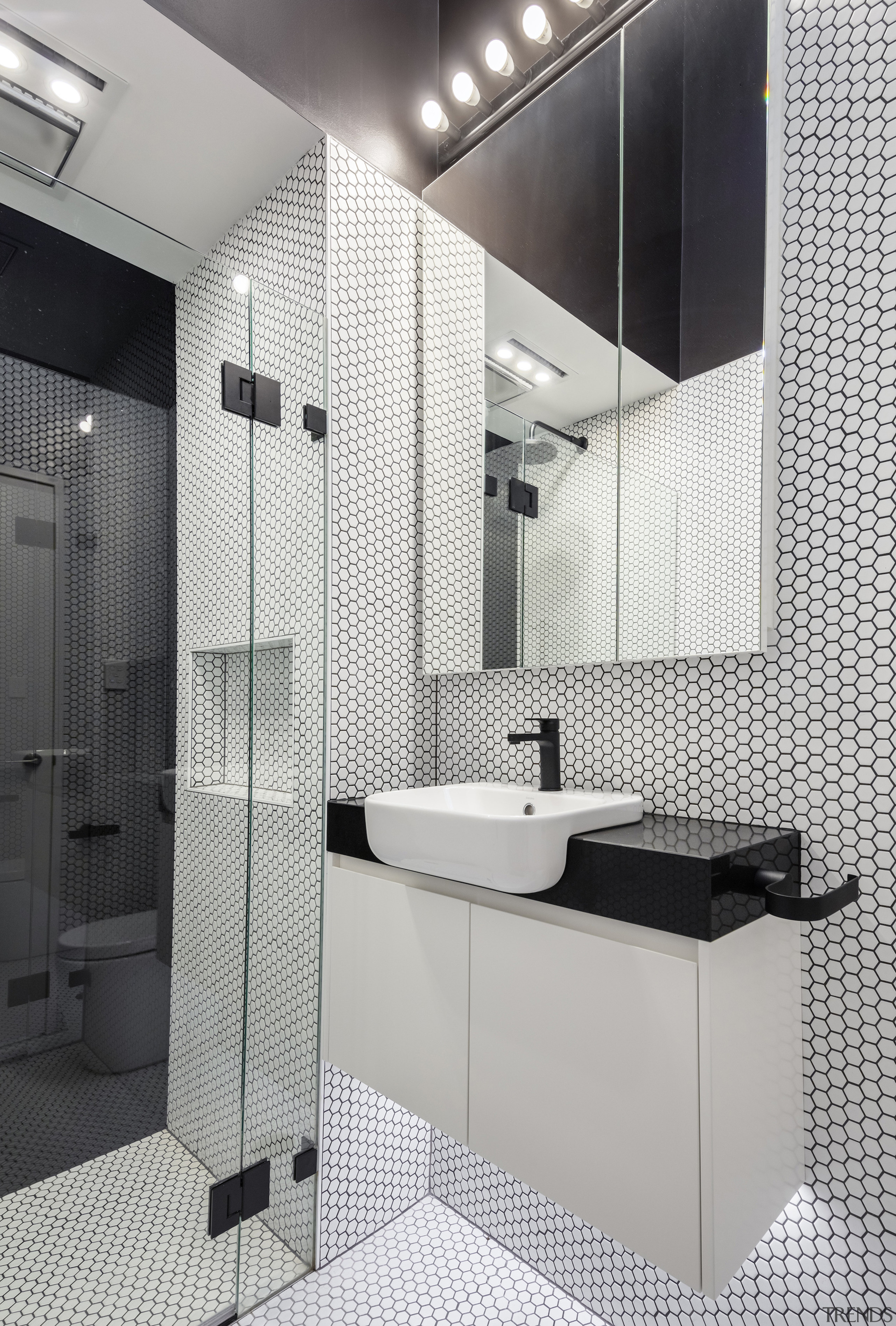 A light-filled and distinctly modern bathroom in the