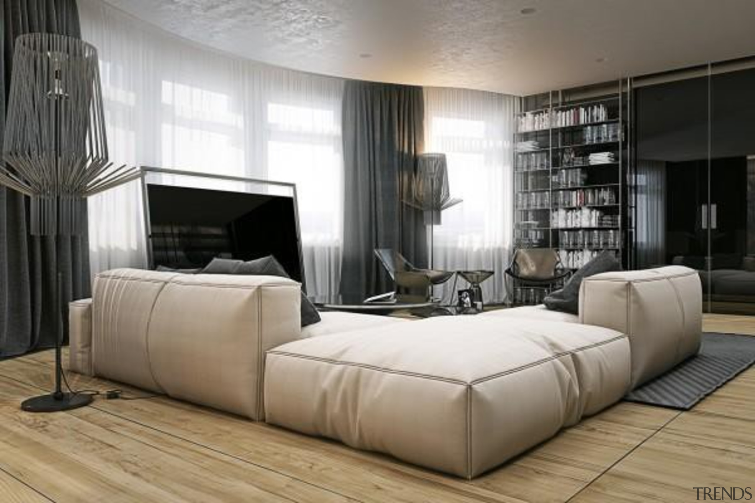 gauzy curtains - Masculine Apartments - bed | bed, bed frame, couch, floor, furniture, interior design, living room, room, wall, white