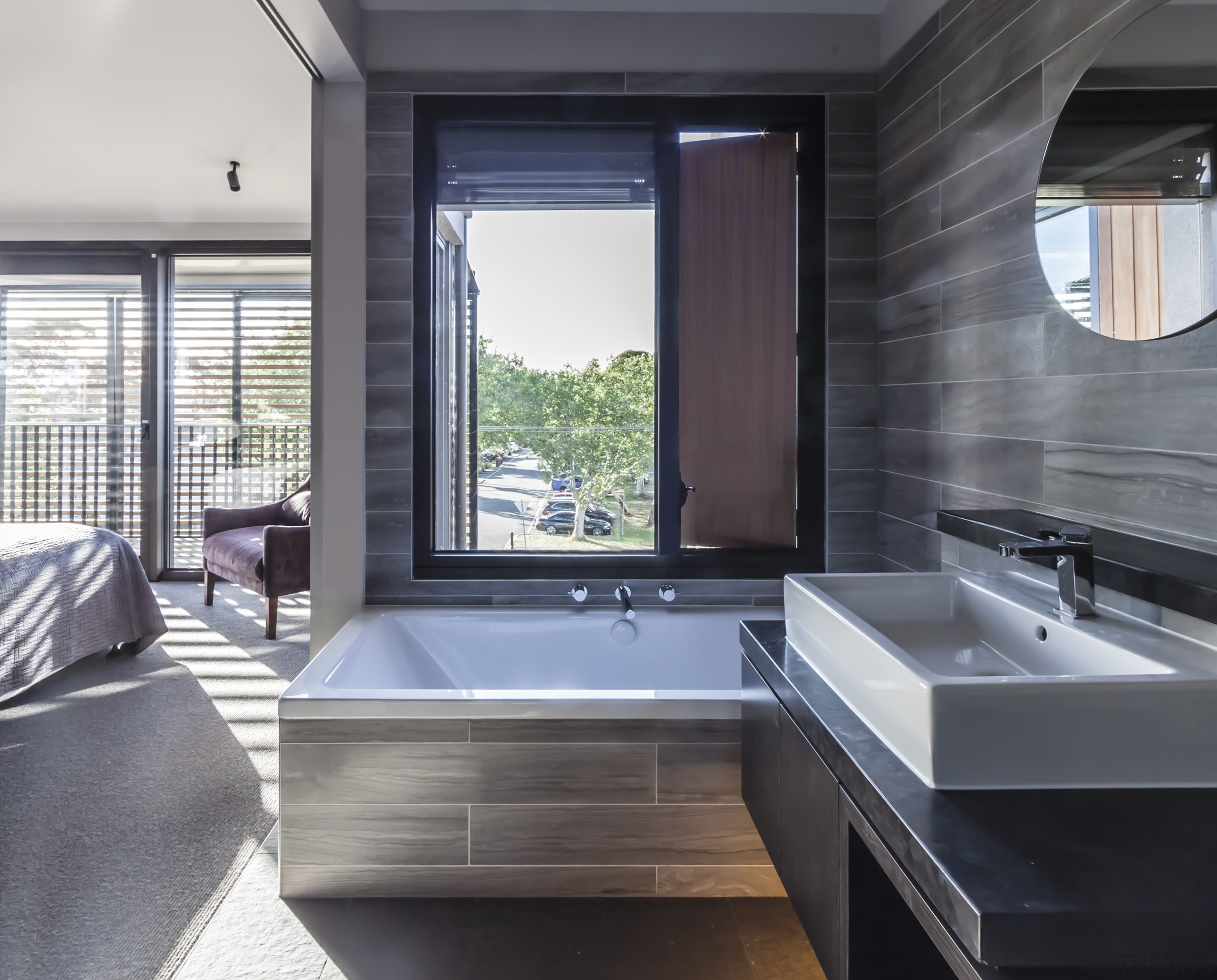 Highly Commended – Mcmahon And Nerlich Architects architecture, bathroom, interior design, window, gray, black